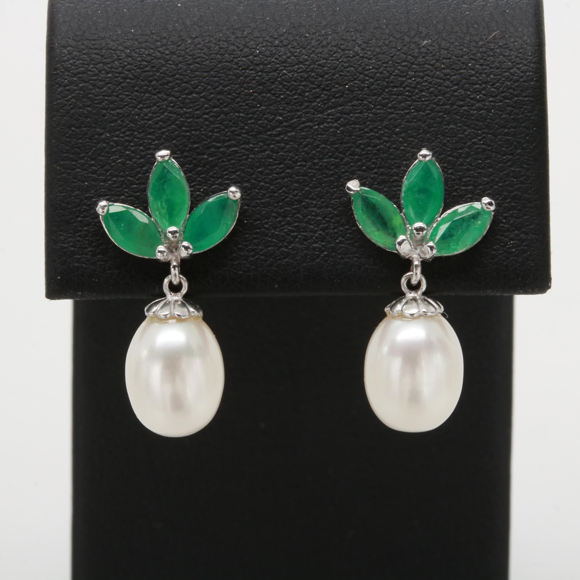 14K White Gold Emerald and Cultured Pearl Dangle Earrings