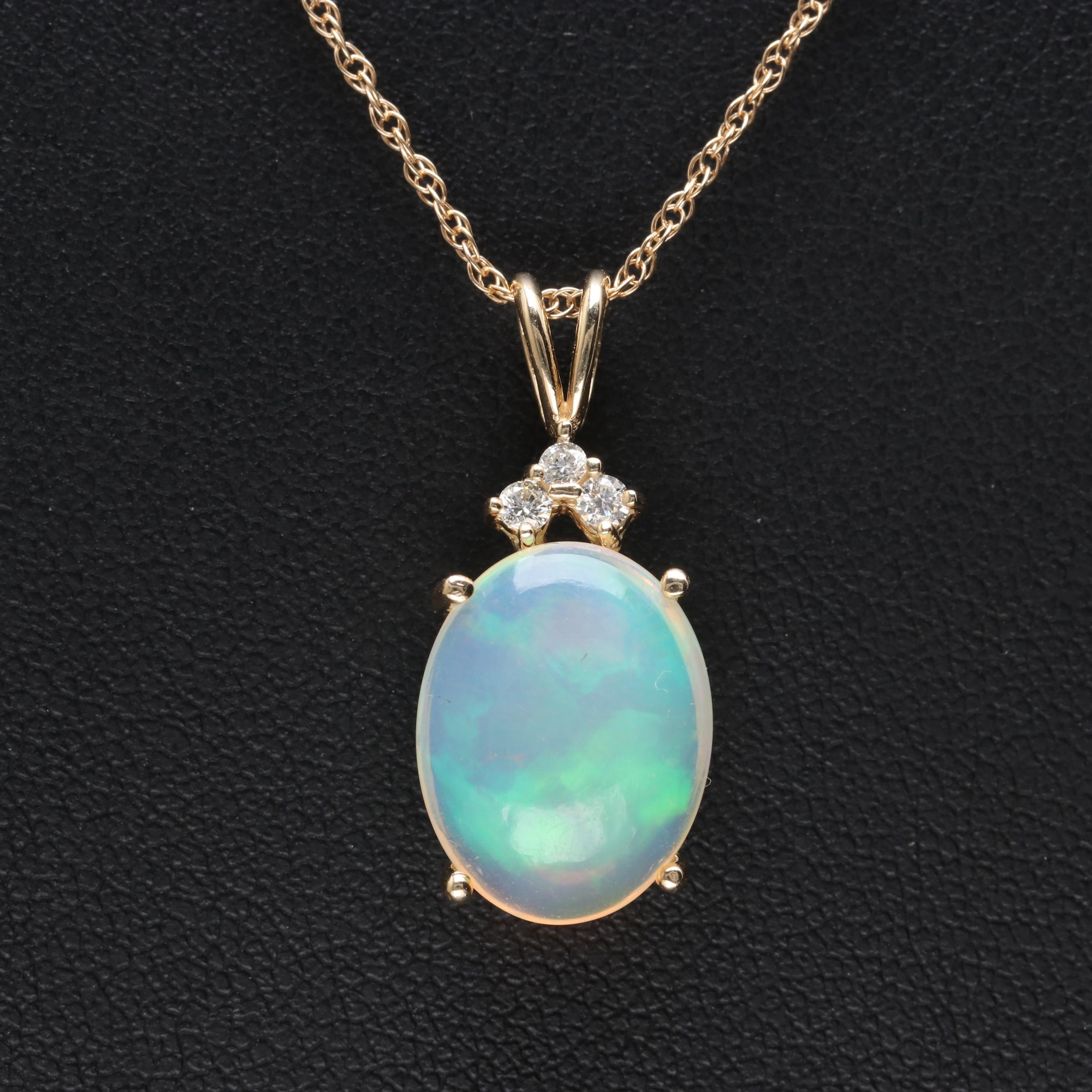 14K Yellow Gold Jelly Opal and Diamond Necklace