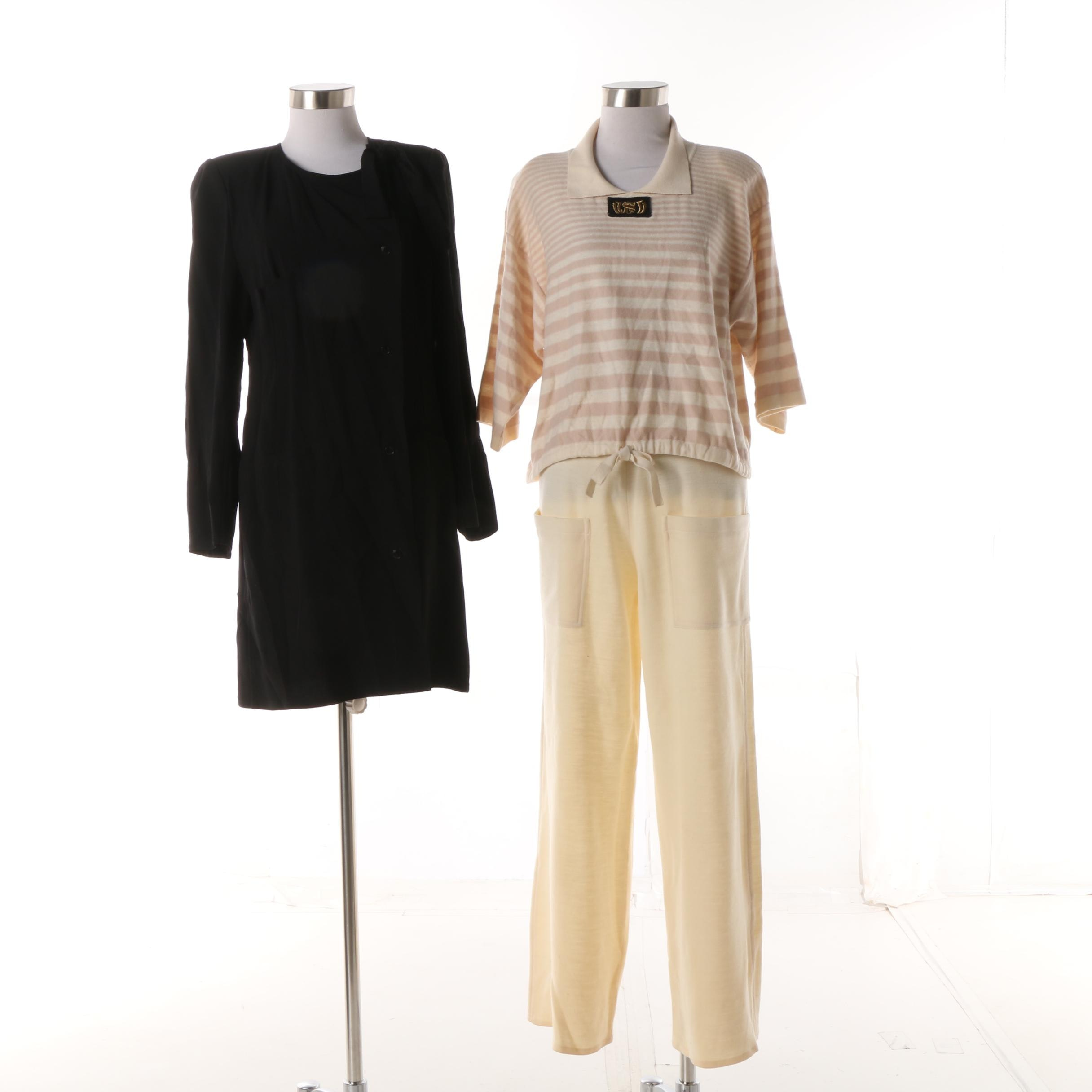 Women's Circa 1980s Vintage Sonia Rykiel Black Dress and Knit Separates