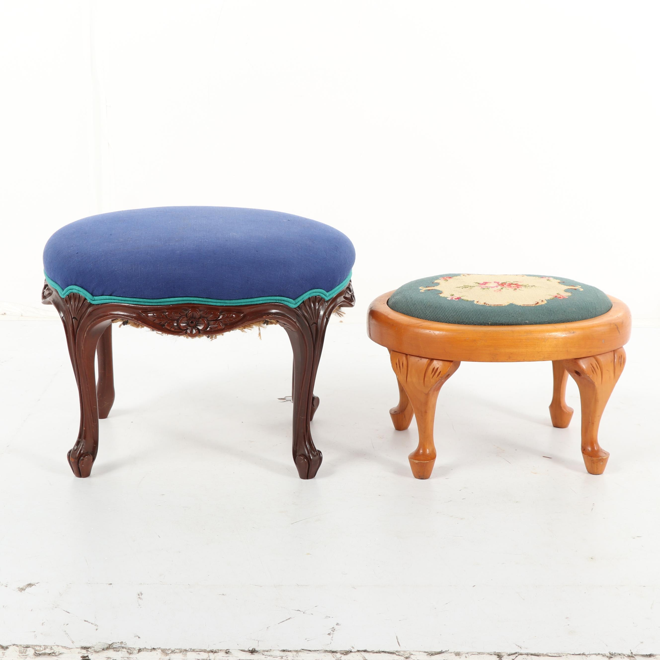 Victorian Wood Footstools, Early 20th Century