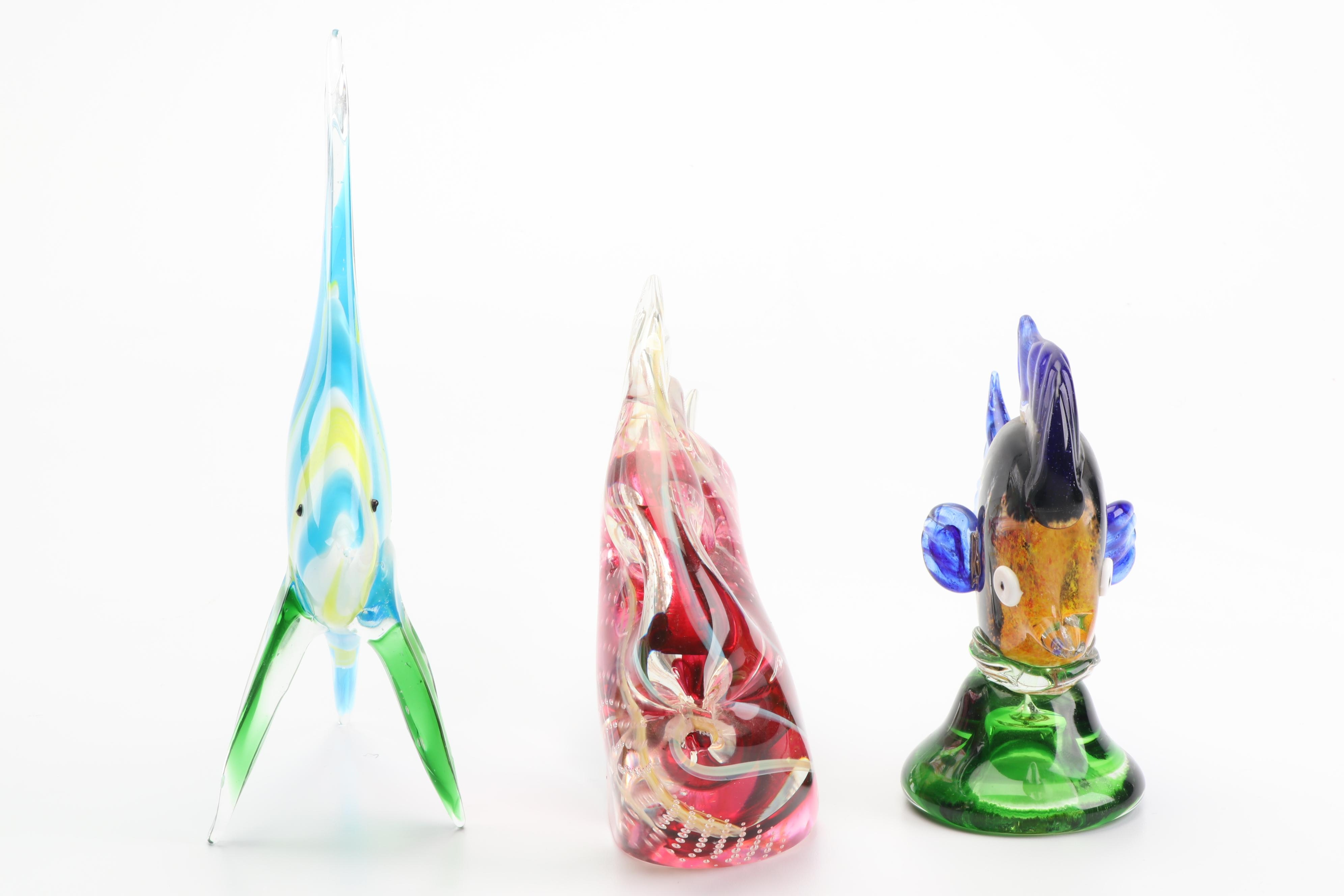 Dante Veni Murano and Rollin Karg Art Glass Fish