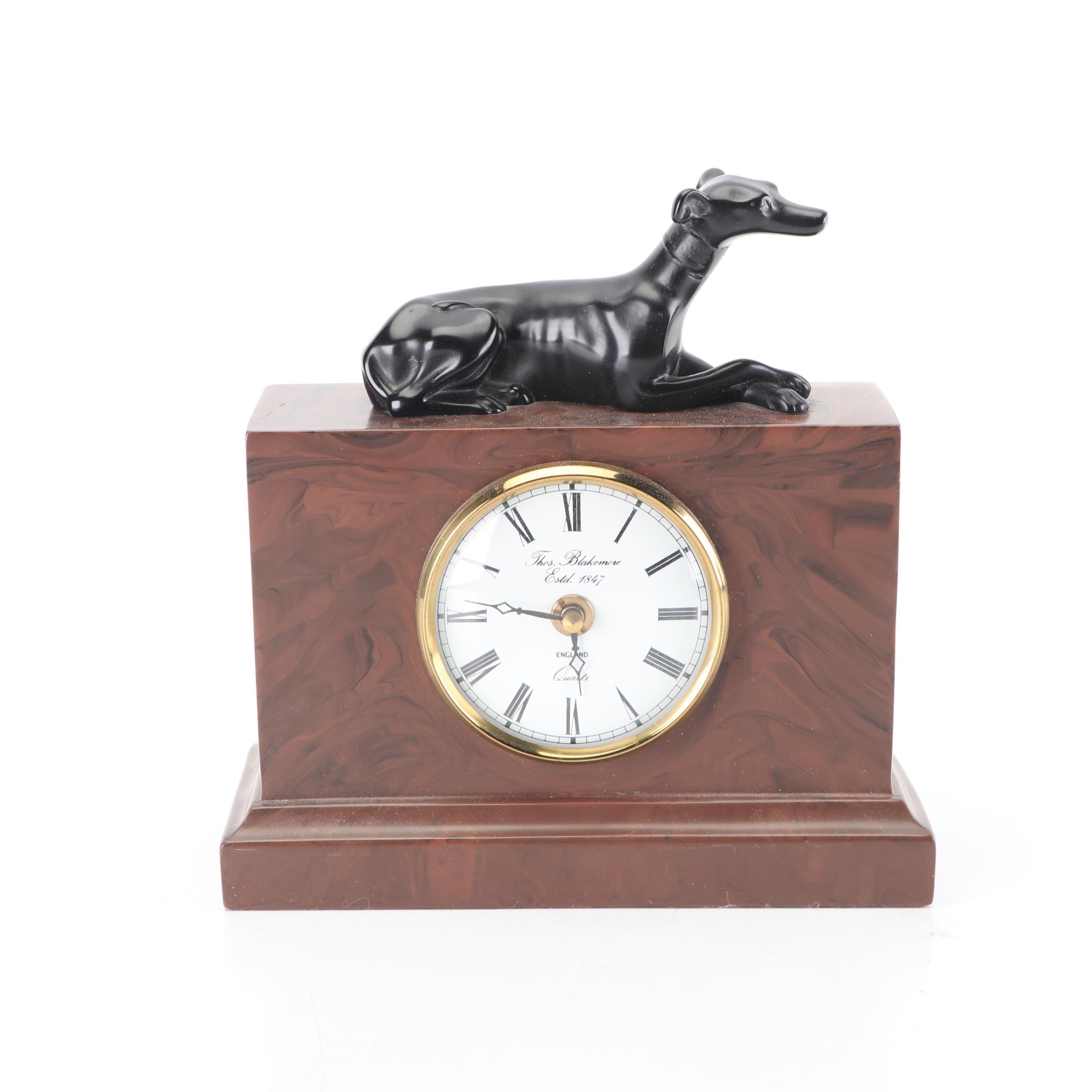 Thomas Blakemore English Mantel Clock with Figural Greyhound