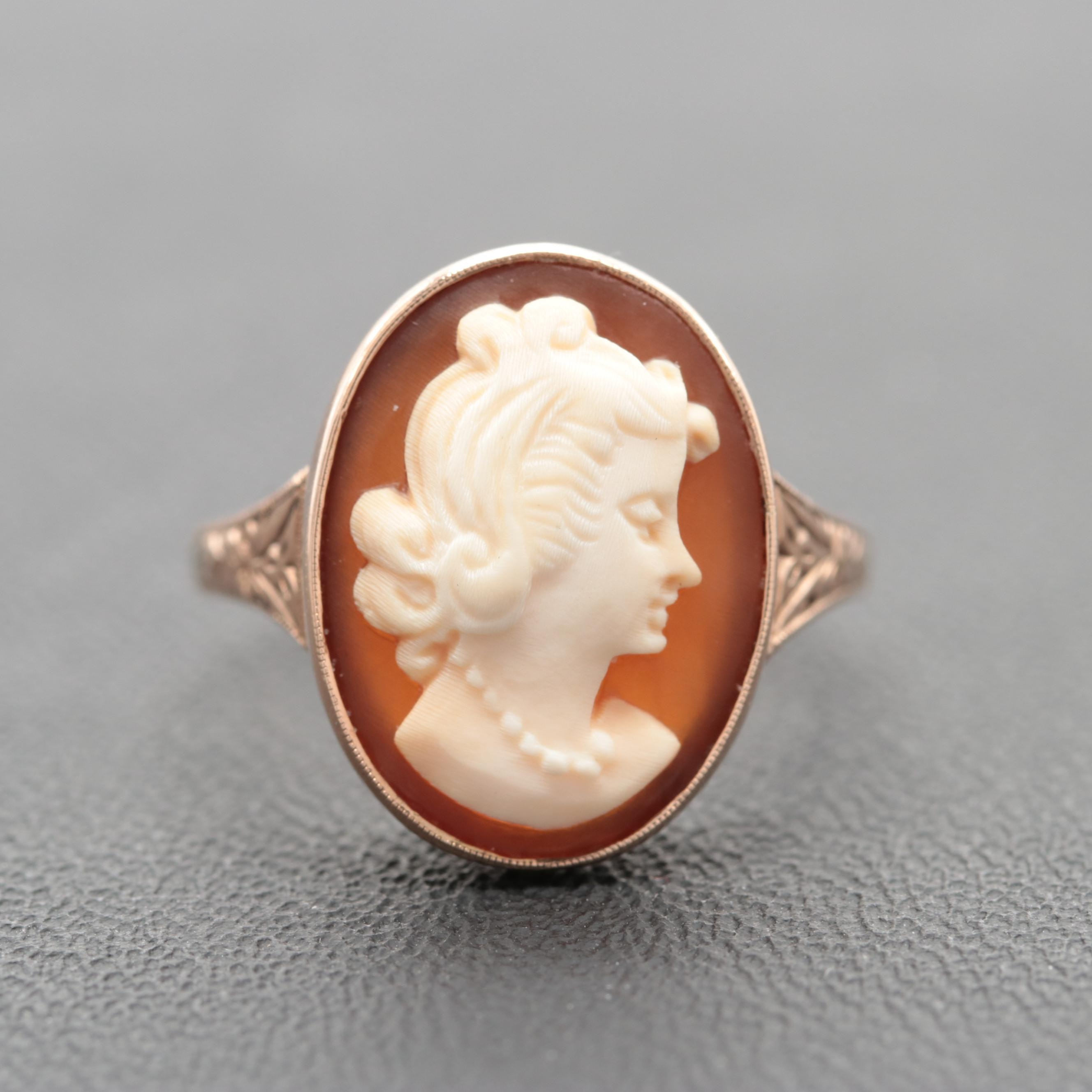 Victorian 10K Rose Gold Shell Cameo Ring