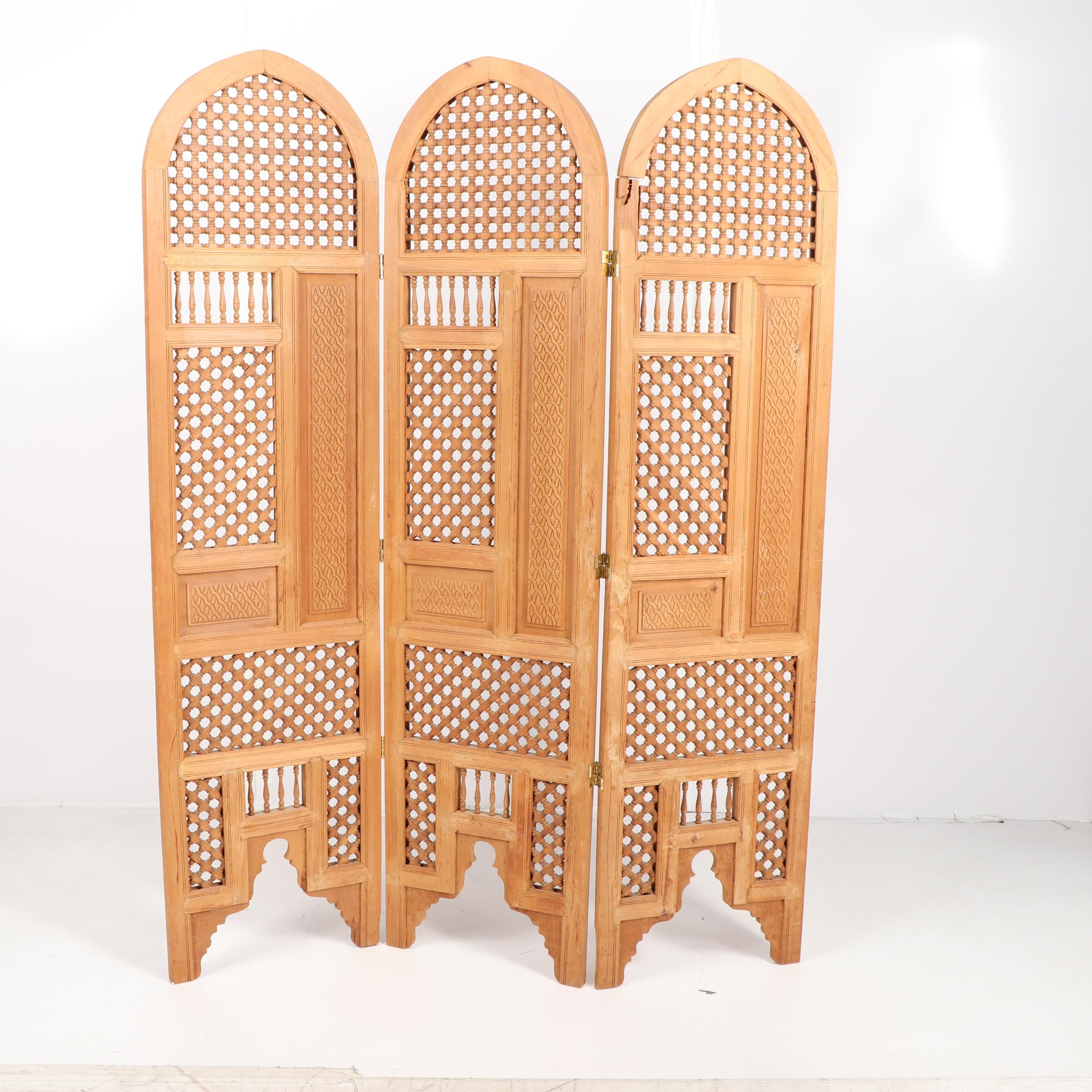 Moroccan Style Carved Wood Three-Panel Screen, Late 20th Century