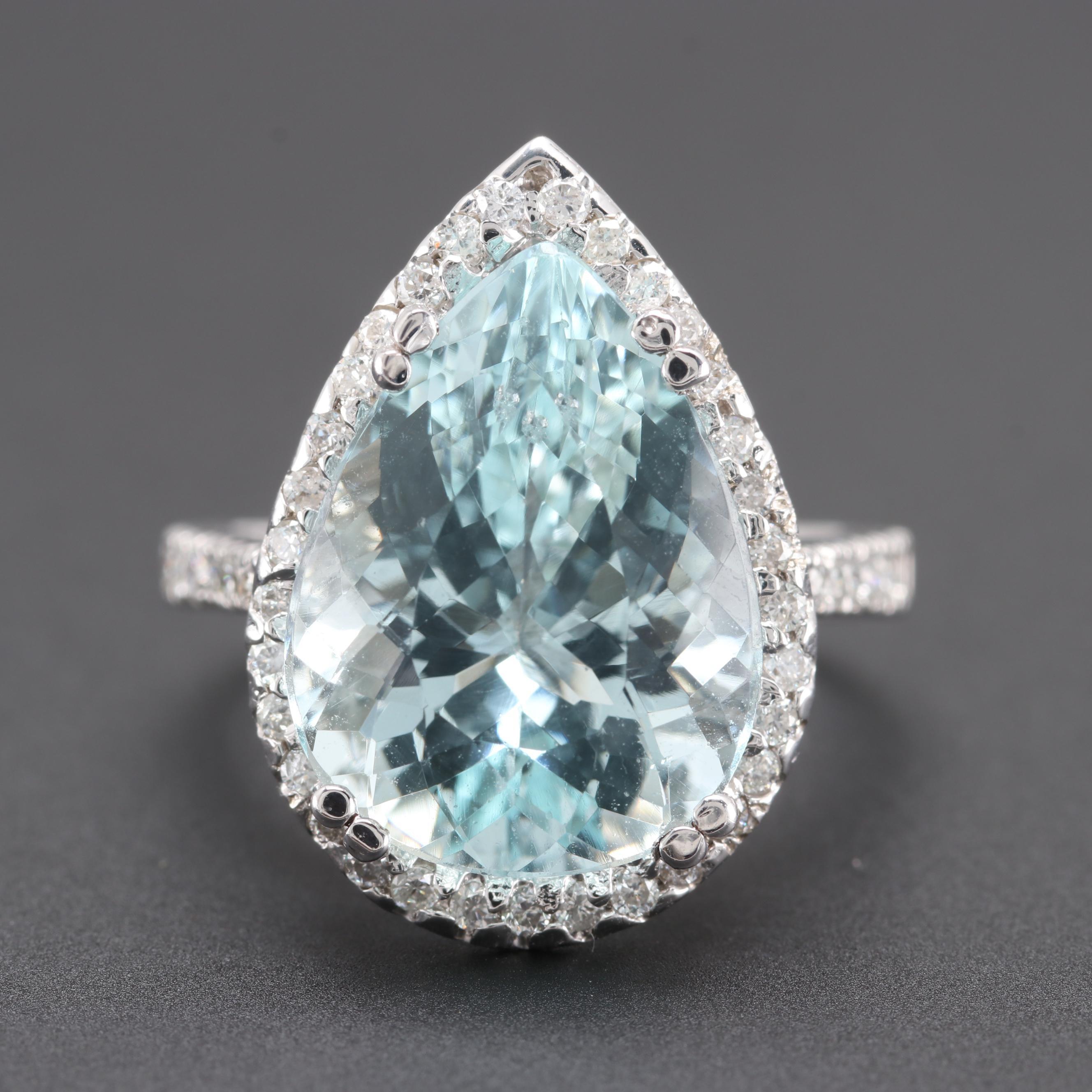 14K White Gold 7.98 CT Aquamarine and Diamond Ring