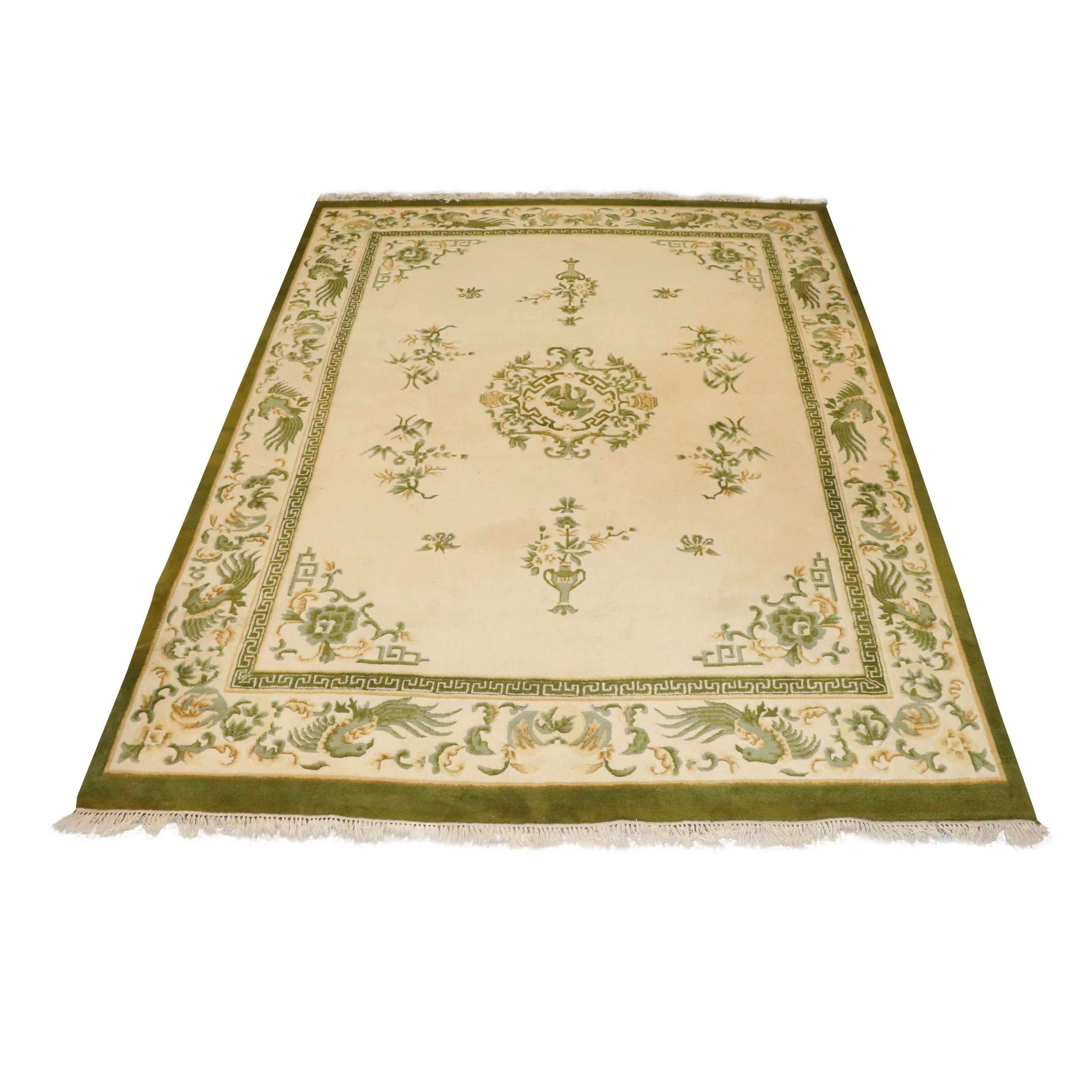 Hand-Knotted Ethan Allen Indian Carved Wool Room Sized Rug