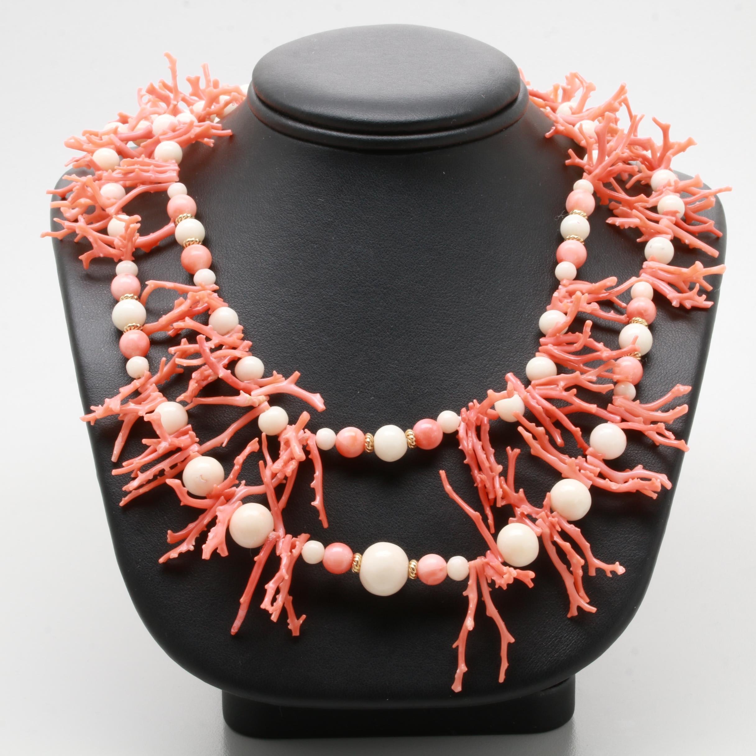 14K Yellow Gold Coral Branch Double Strand Necklace
