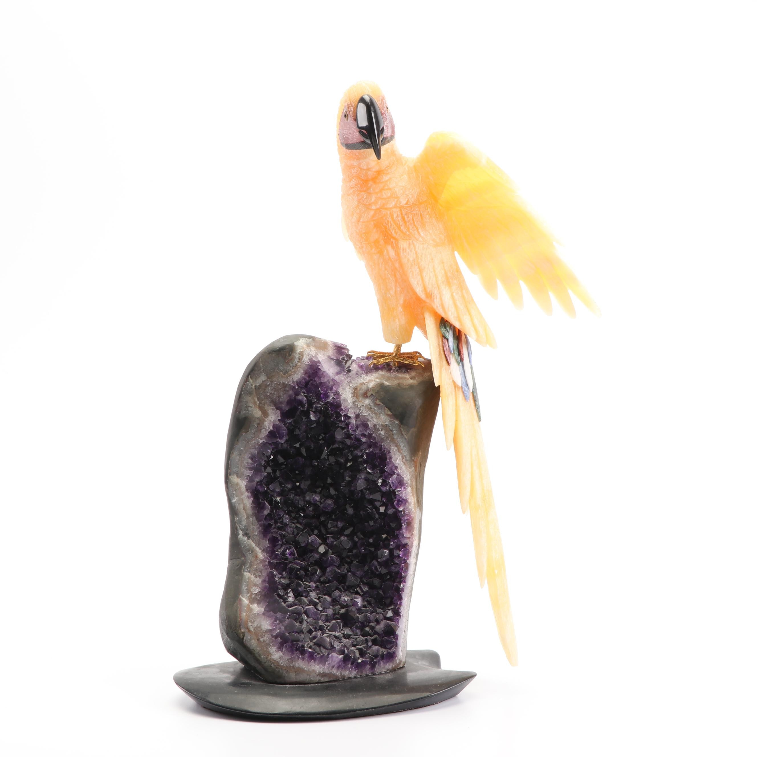 Carved Stone Parrot Sculpture on Geode Base