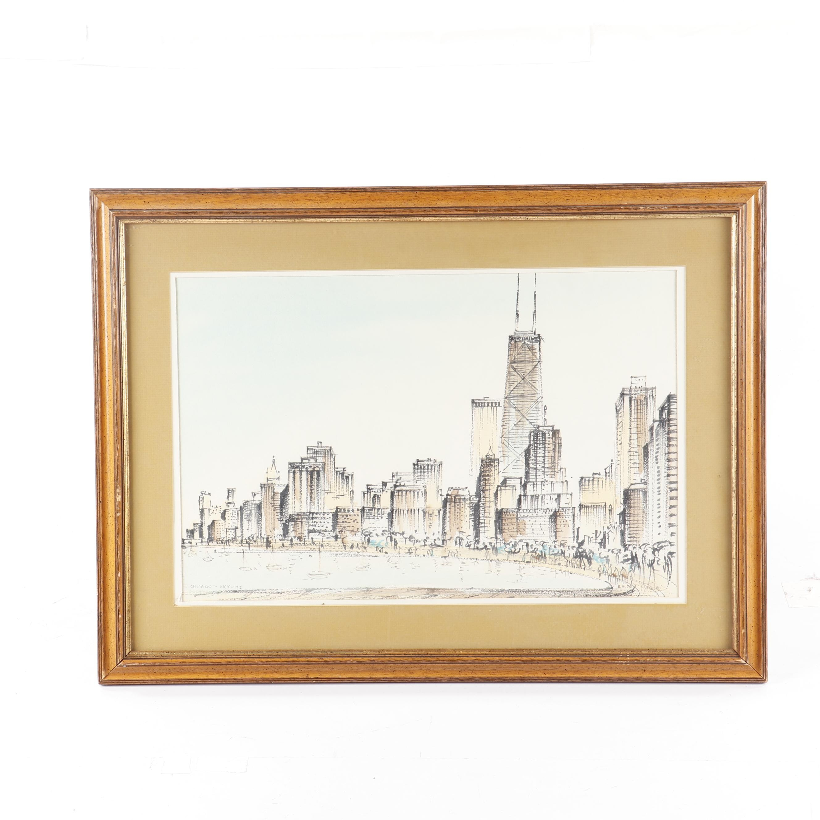 "Ink Drawing ""Chicago Skyline"""