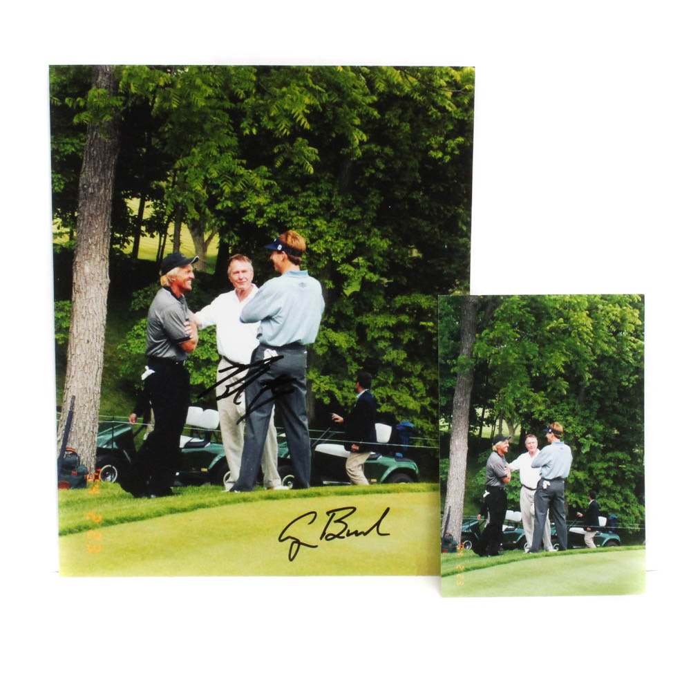 George H.W. Bush and Brad Faxon Autographed Picture