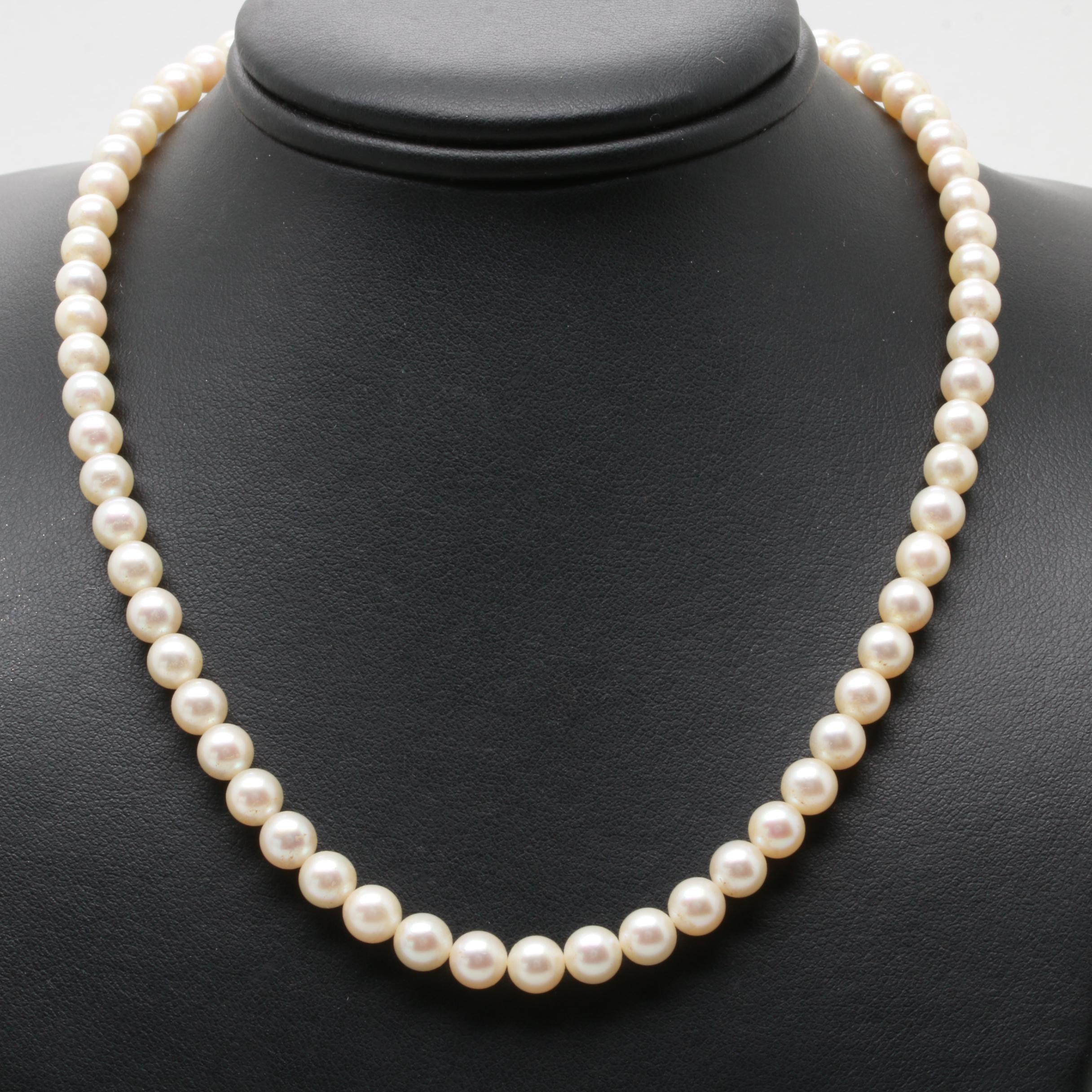 Mikimoto Silver Tone Cultured Pearl Necklace