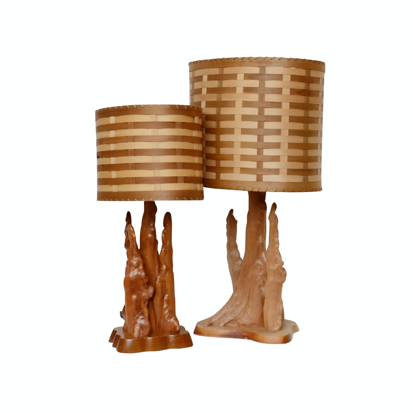 Pair of Cypress Wood Table Lamps with Woven Lamp Shades