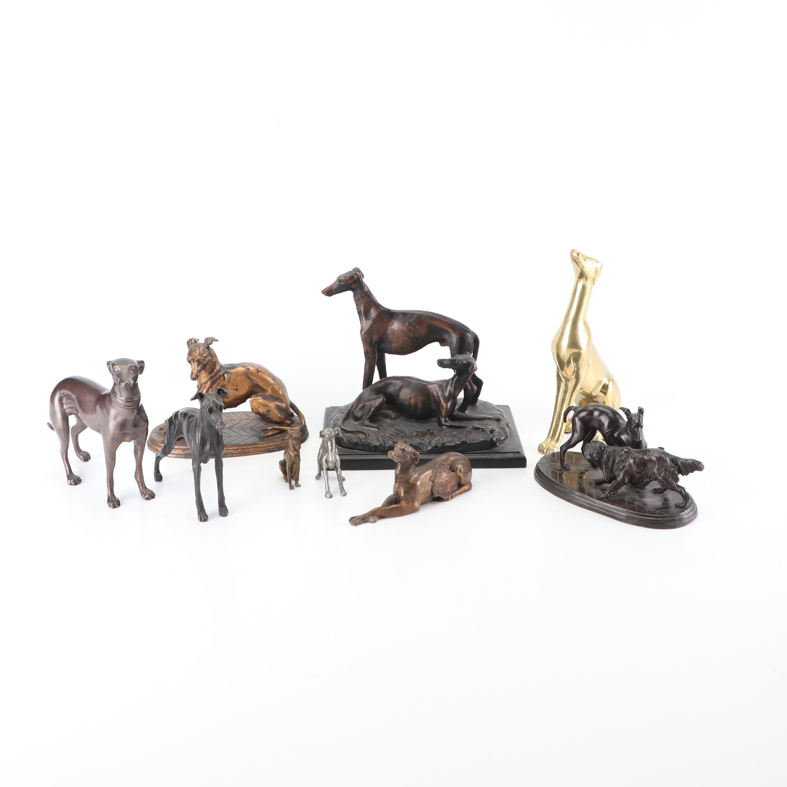 Metal and Resin Greyhound Dog Figurines