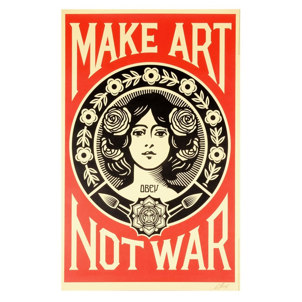 "Shepard Fairey Signed 2018 Offset Print ""Make Art Not War"""