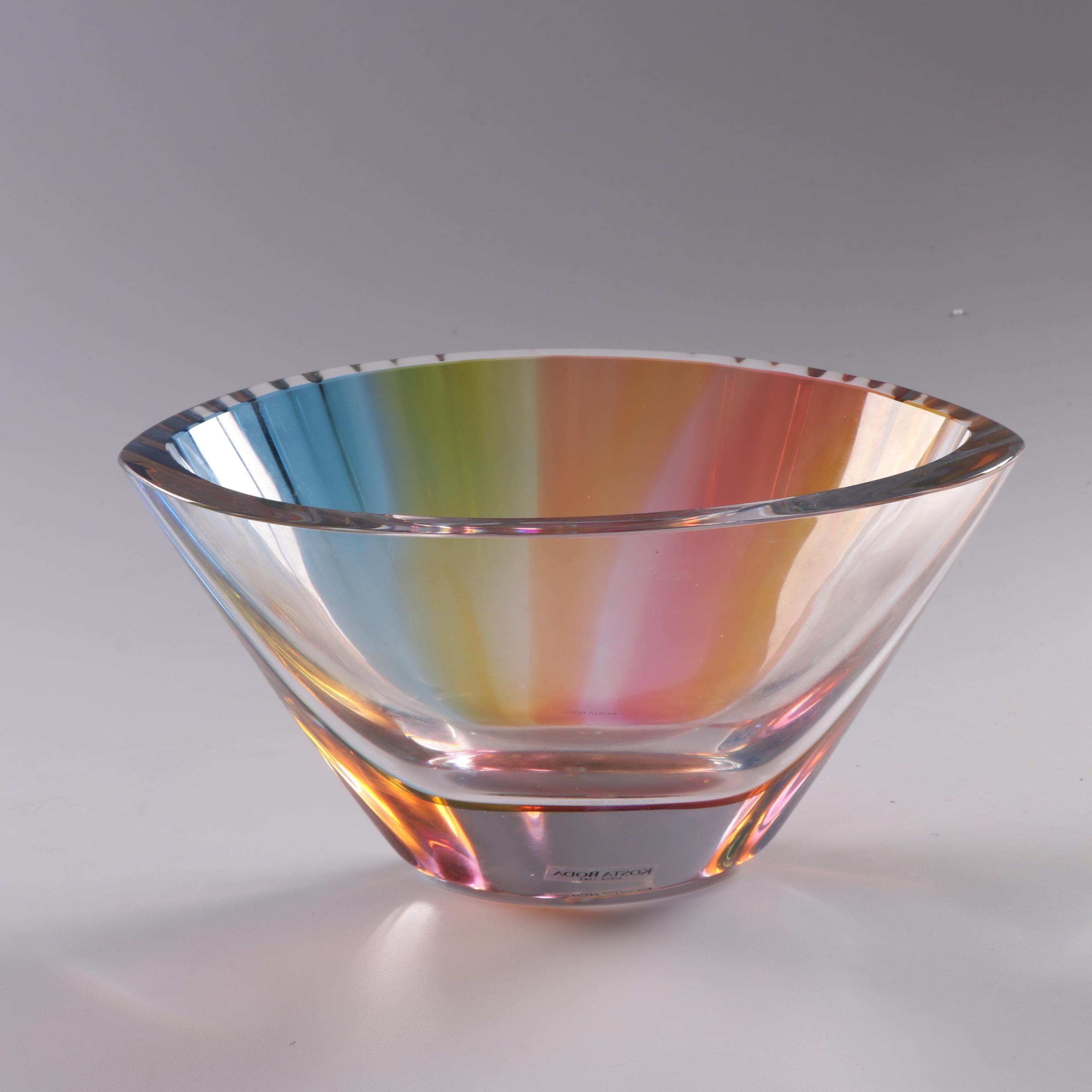Kosta Boda Limited Edition Rainbow Glass Vase by Göran Wärff