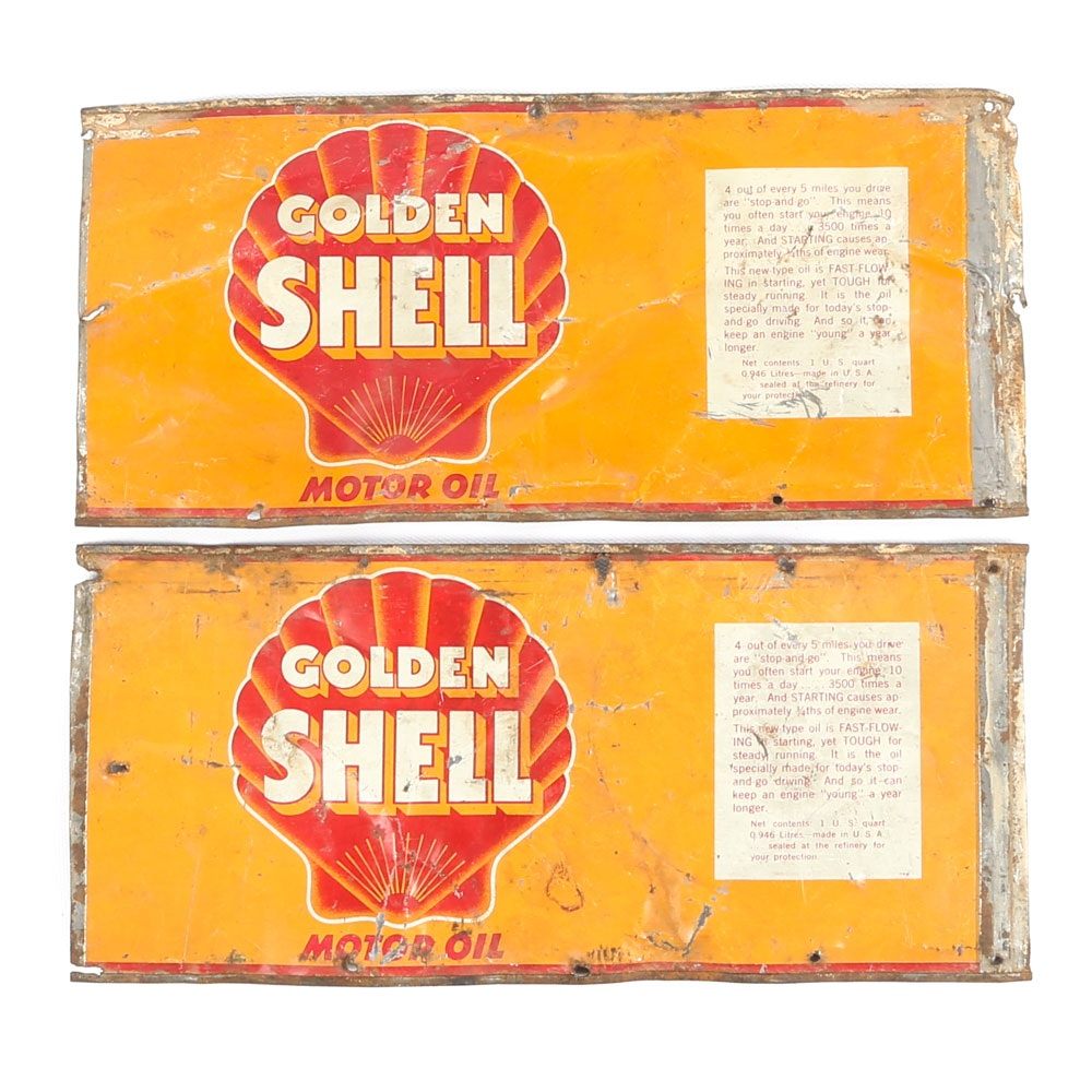 Vintage Golden Shell Motor Oil Tin Signs