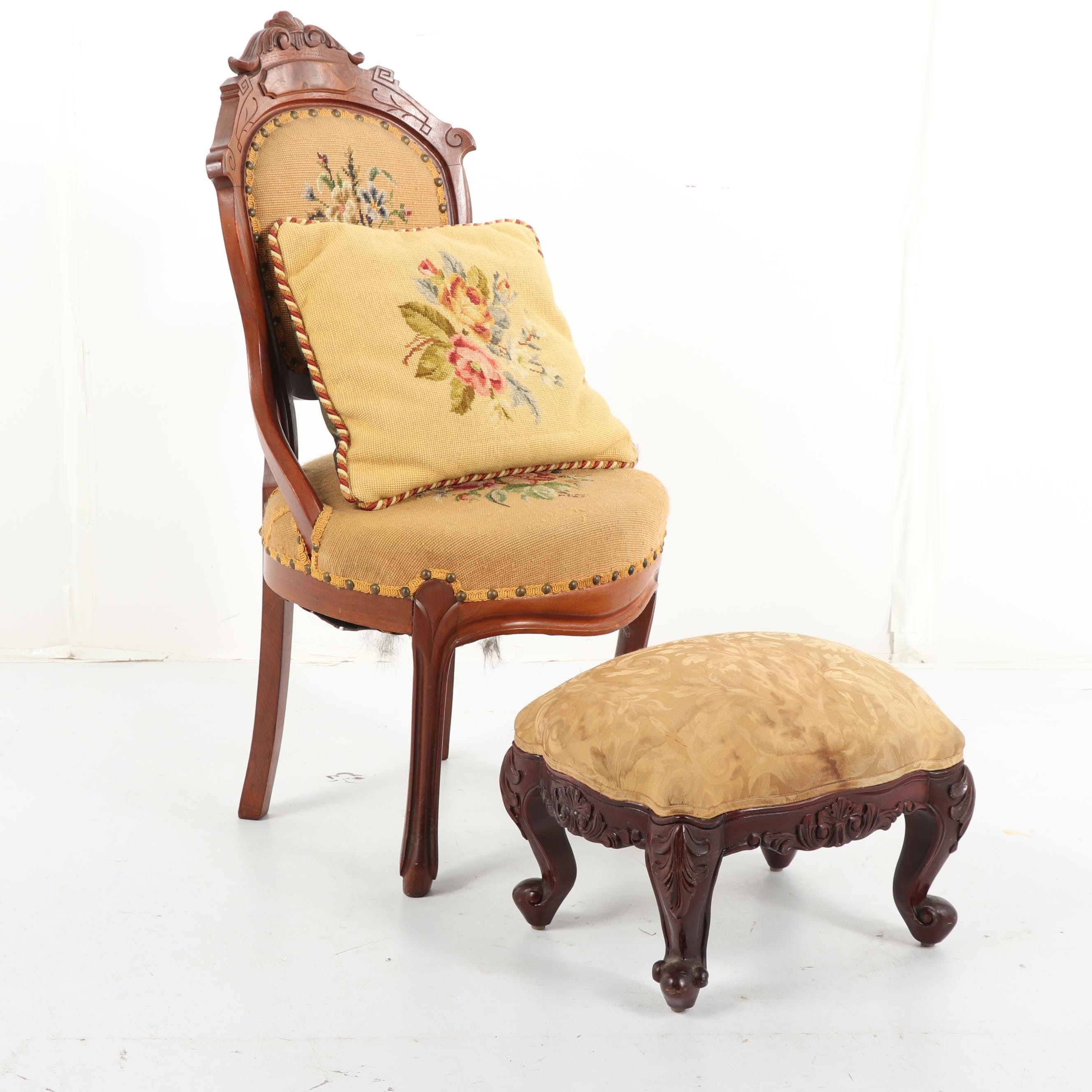 Victorian Walnut Side Chair with Footstool, Early 20th Century