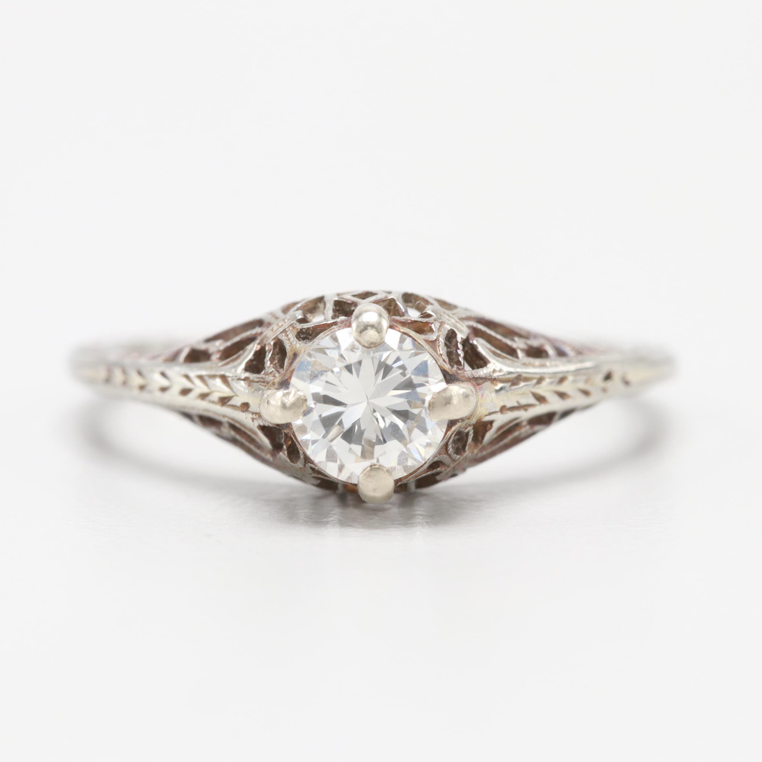 Art Deco 18K White Gold 0.39 CT Diamond Ring
