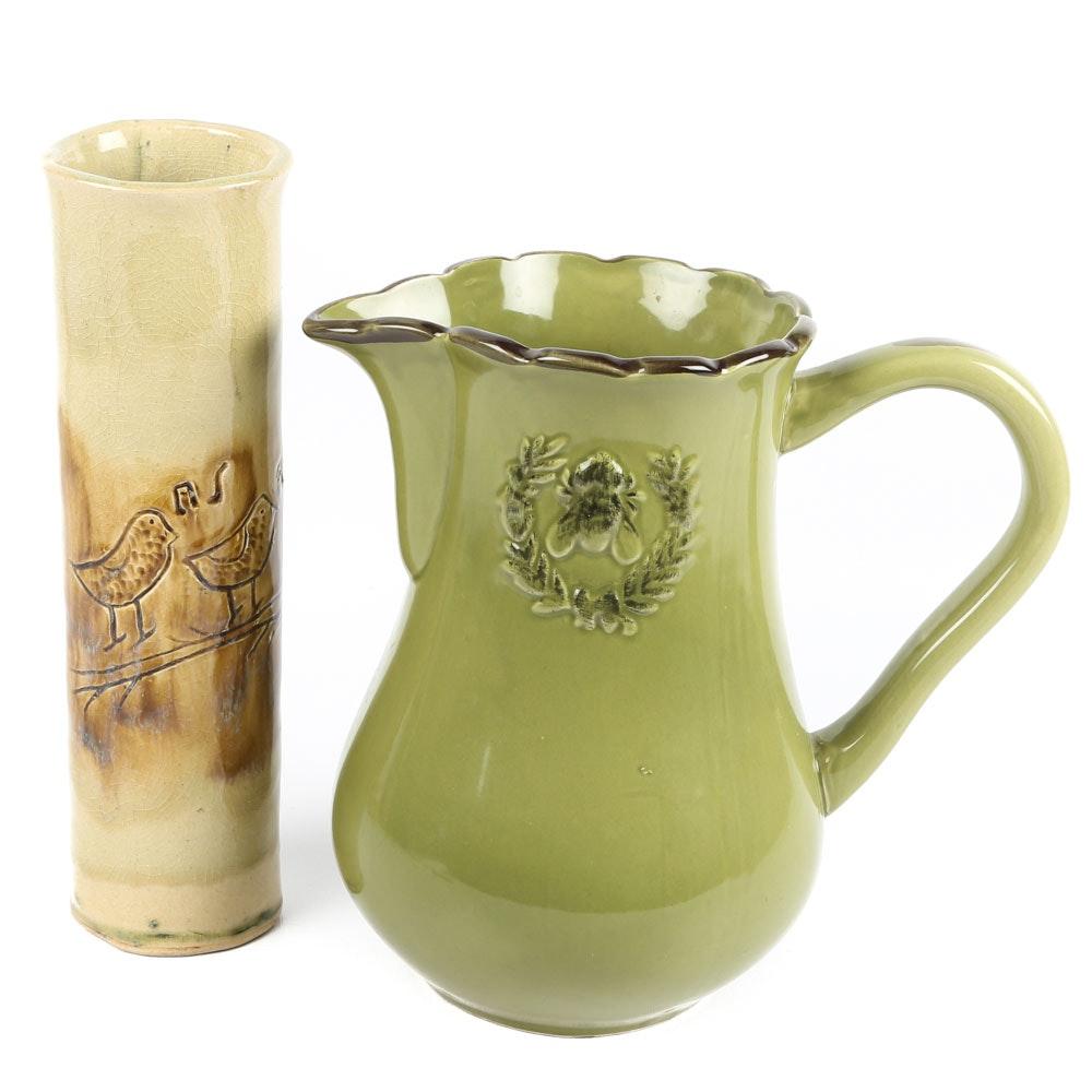 Handbuilt Stoneware Vase and Pitcher