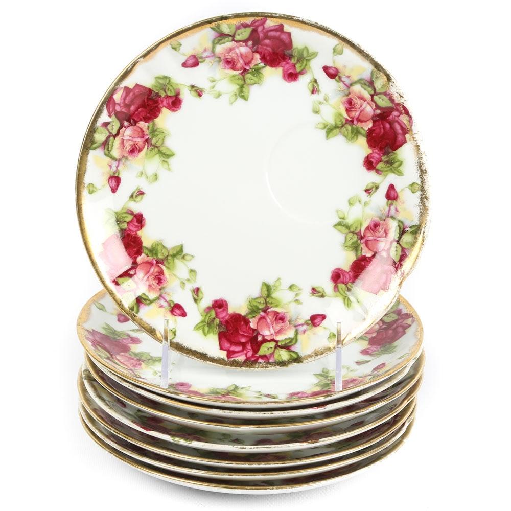 Ceramic Rose Pattern Snack Plates