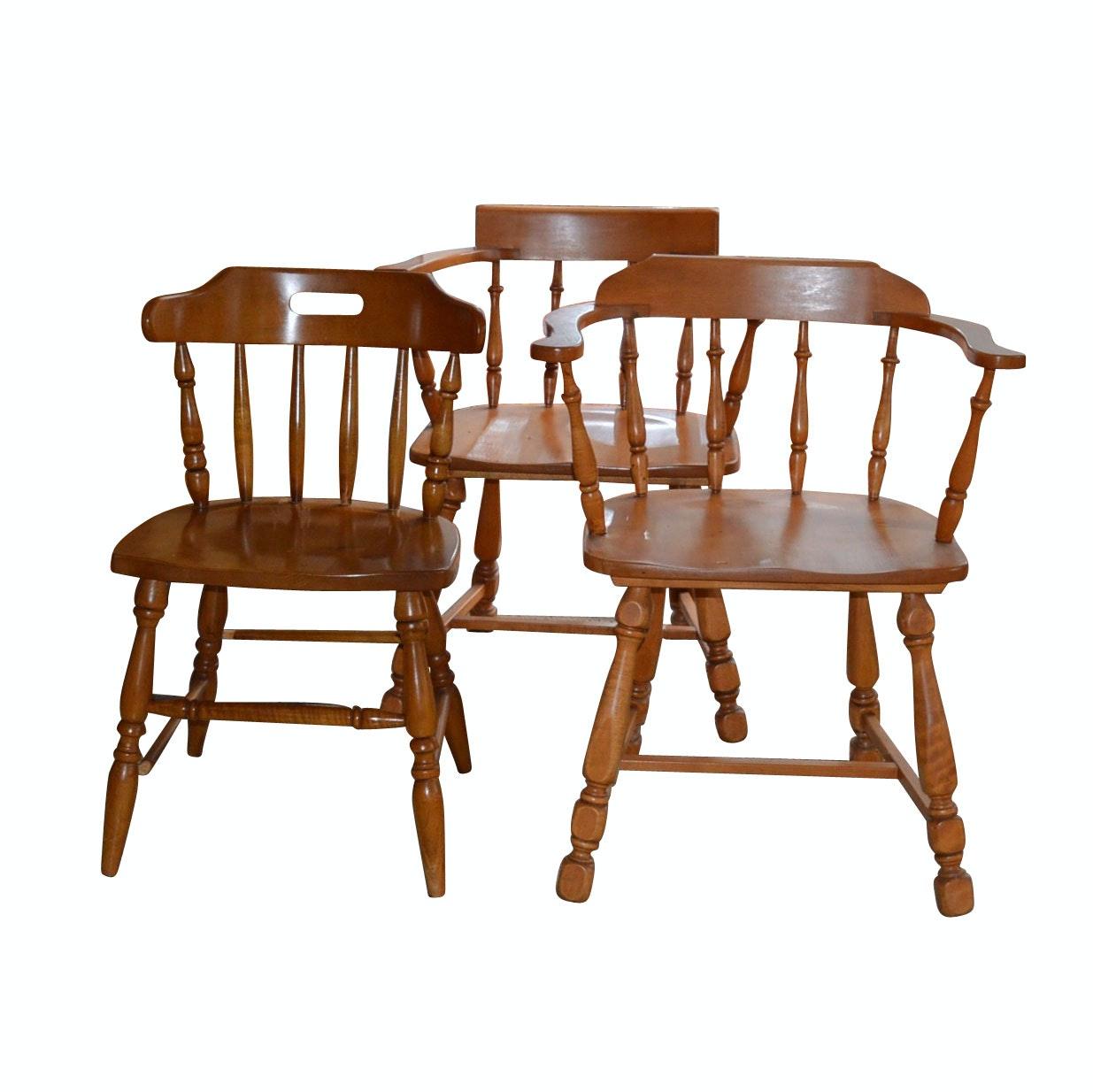 Three Vintage Maple Chairs