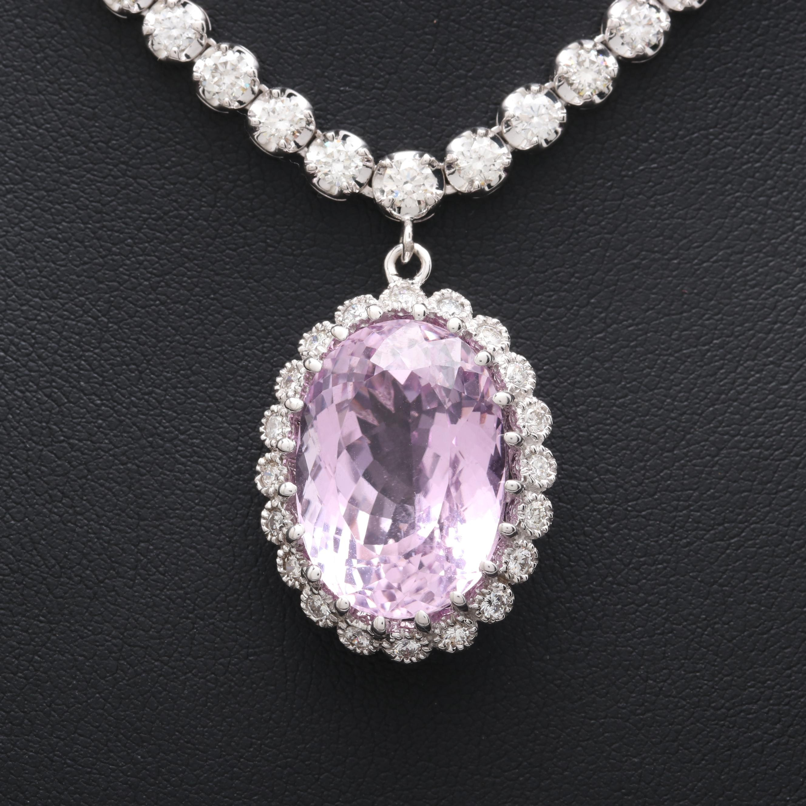 14K White Gold 16.41 CT Kunzite and 3.10 CTW Diamond Necklace