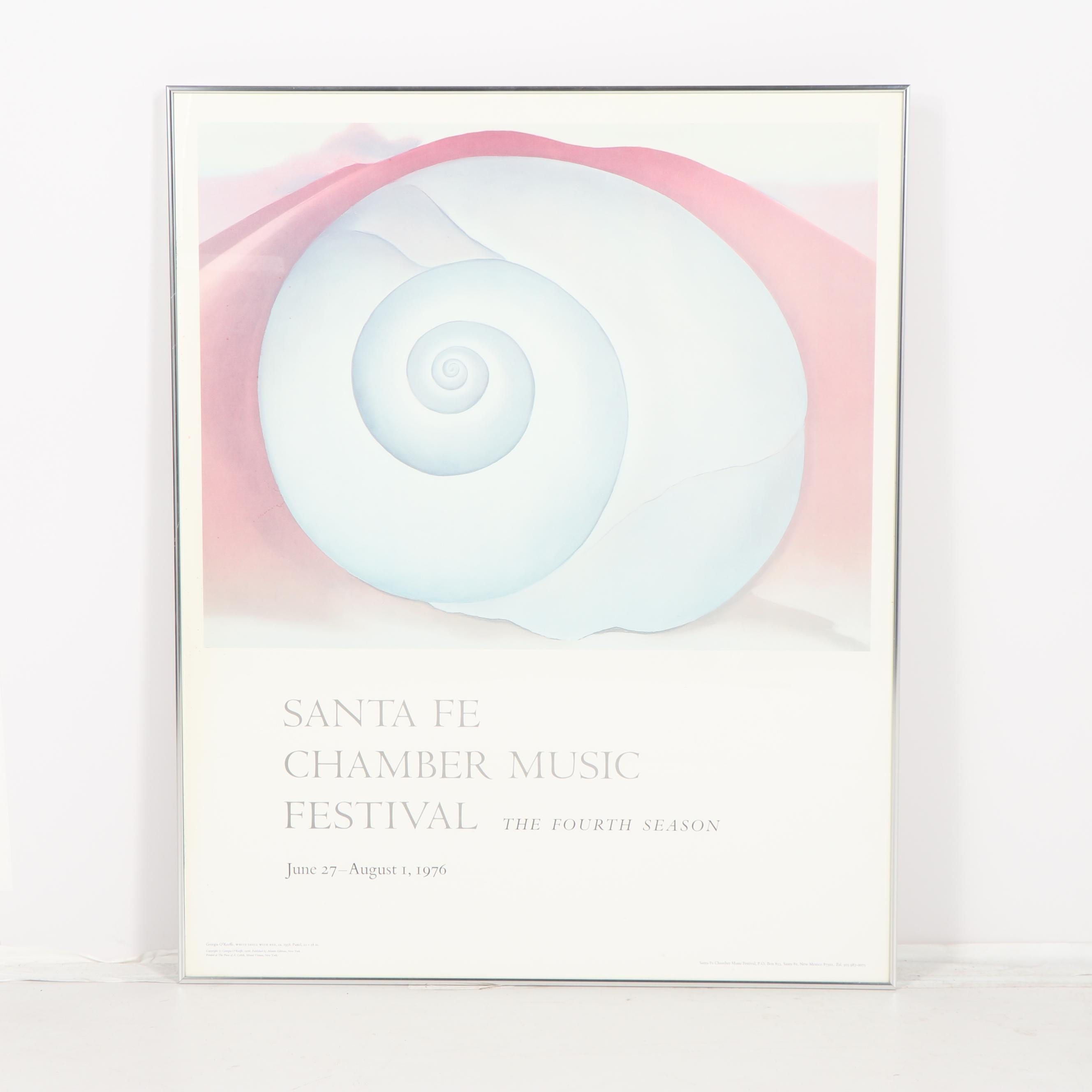 "After Georgia O'Keeffe ""White Shell with Red"" Santa Fe Festival Poster"