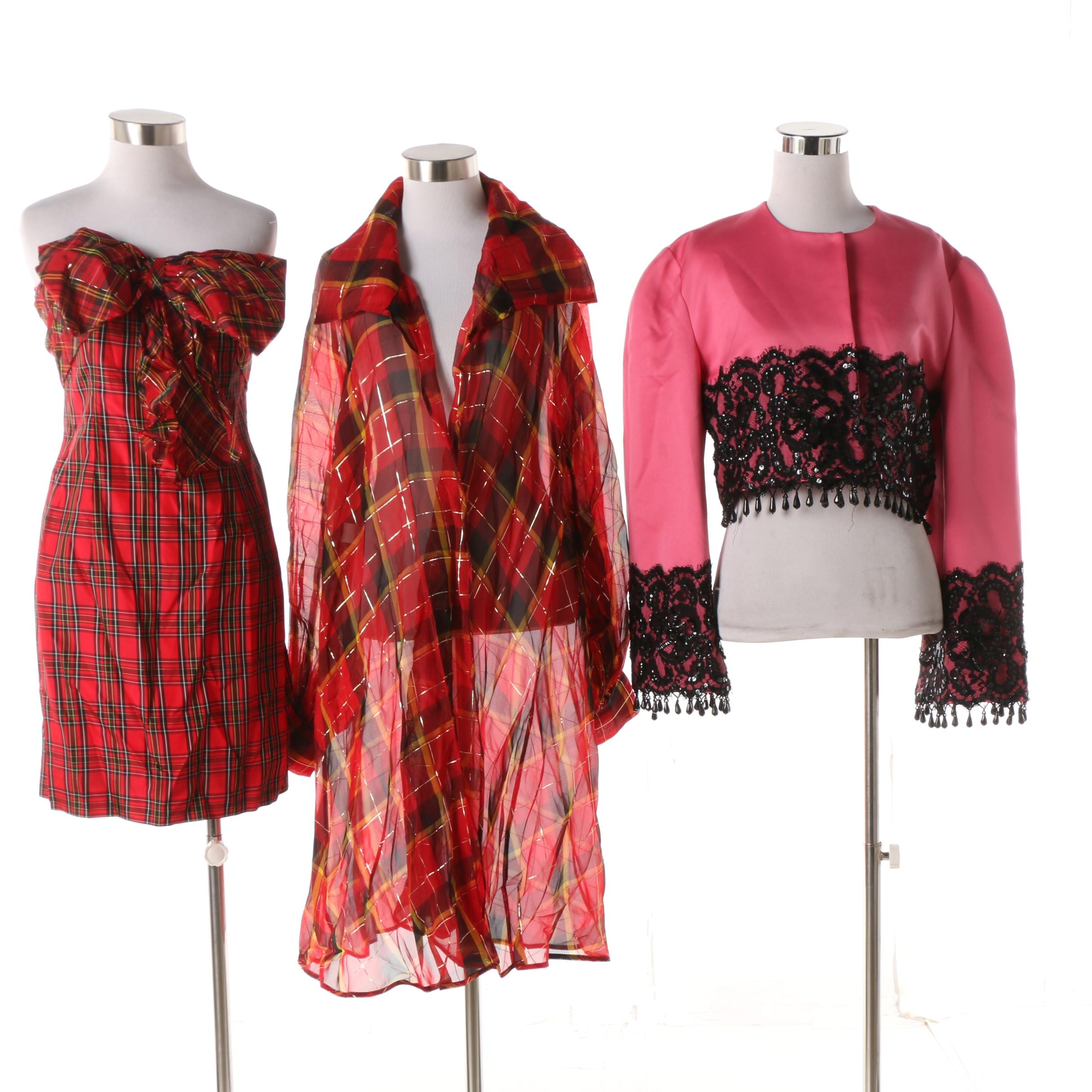 1980s-1990s Victor Costa Plaid Strapless Dress, Jacket and Beaded Jacket