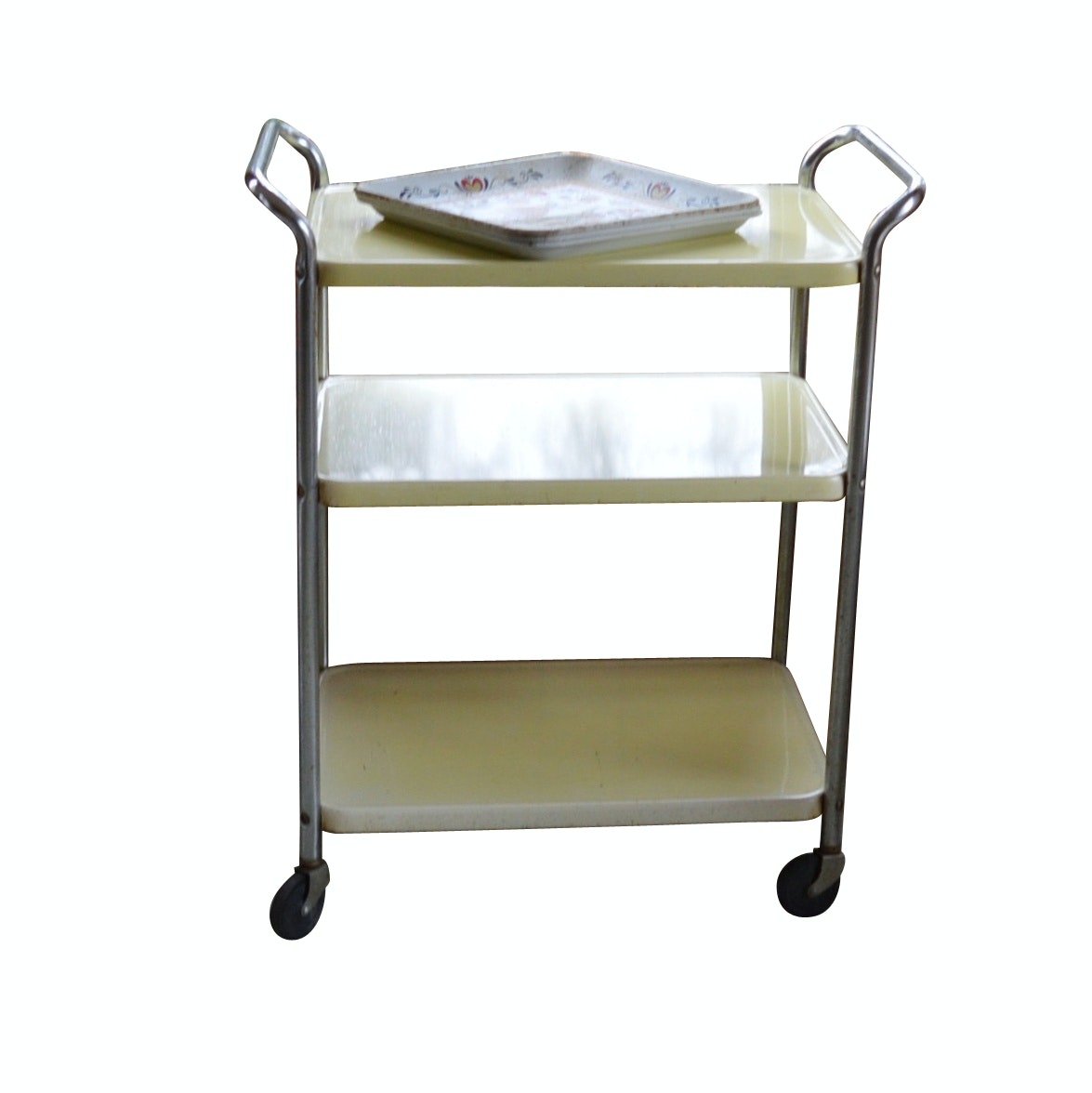 Vintage Kitchen Rolling Cart and Three Metal Trays