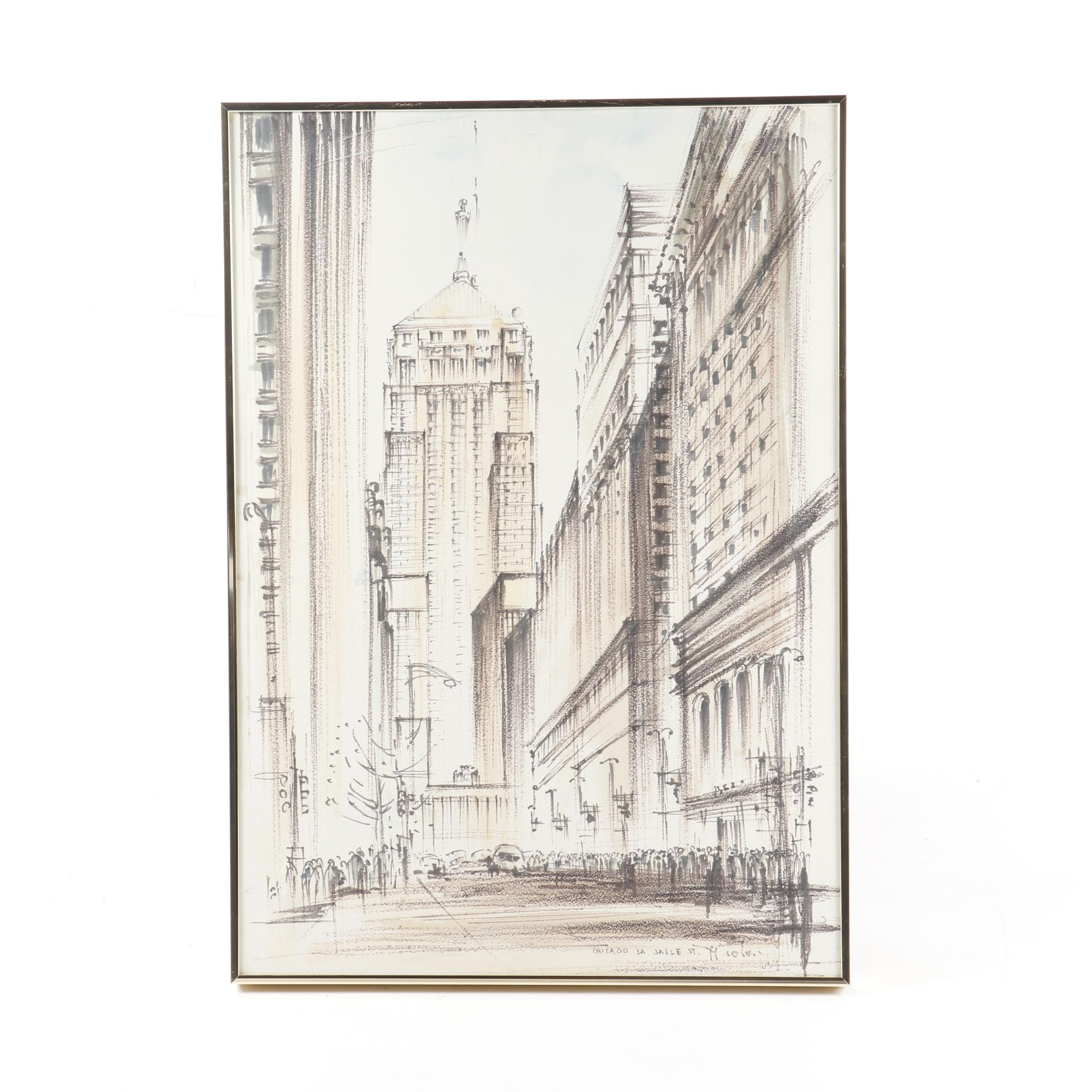 "Ink Drawing ""Chicago La Salle Street"""