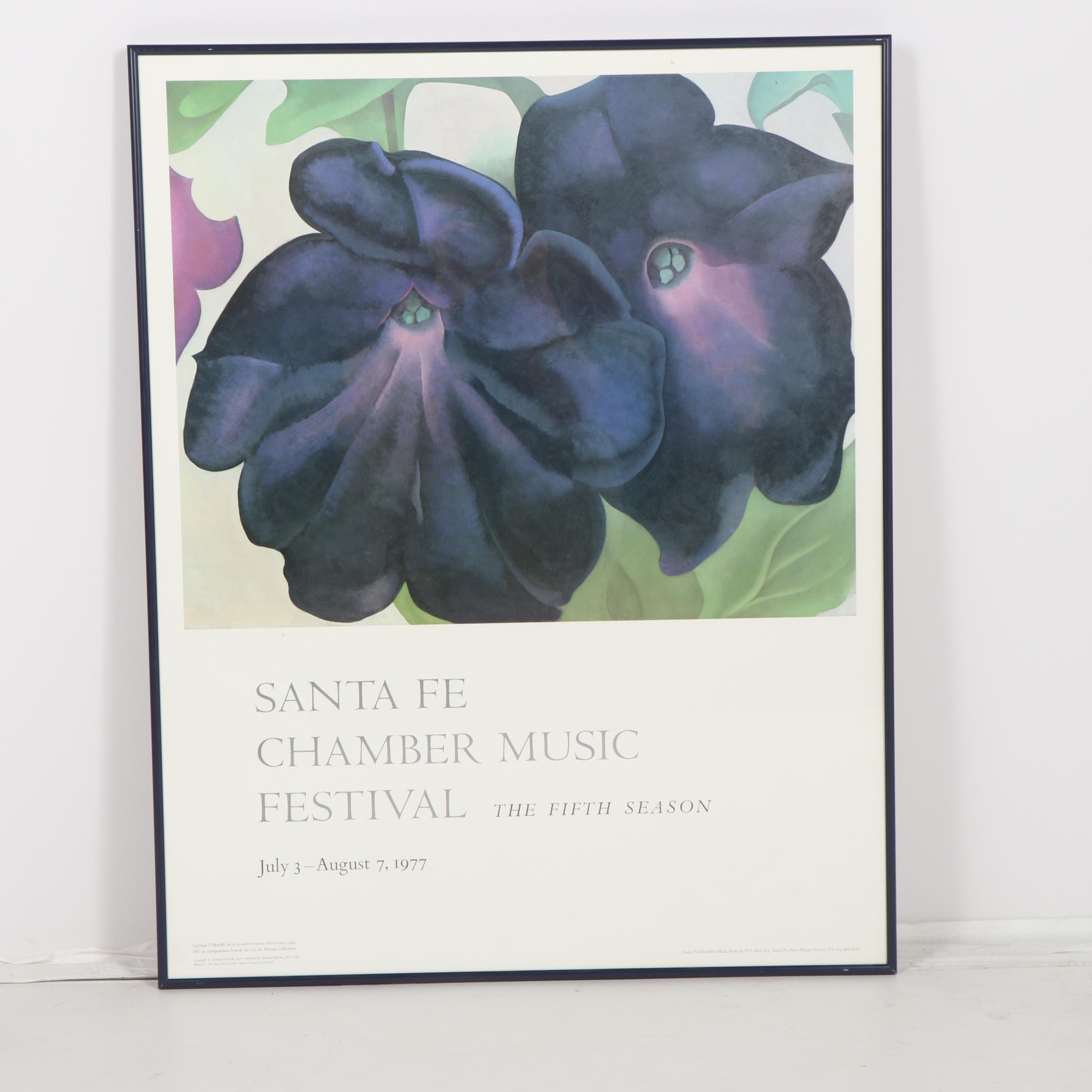 "Offset Lithograph After Georgia O'Keeffe's ""Black and Purple Petunias"""