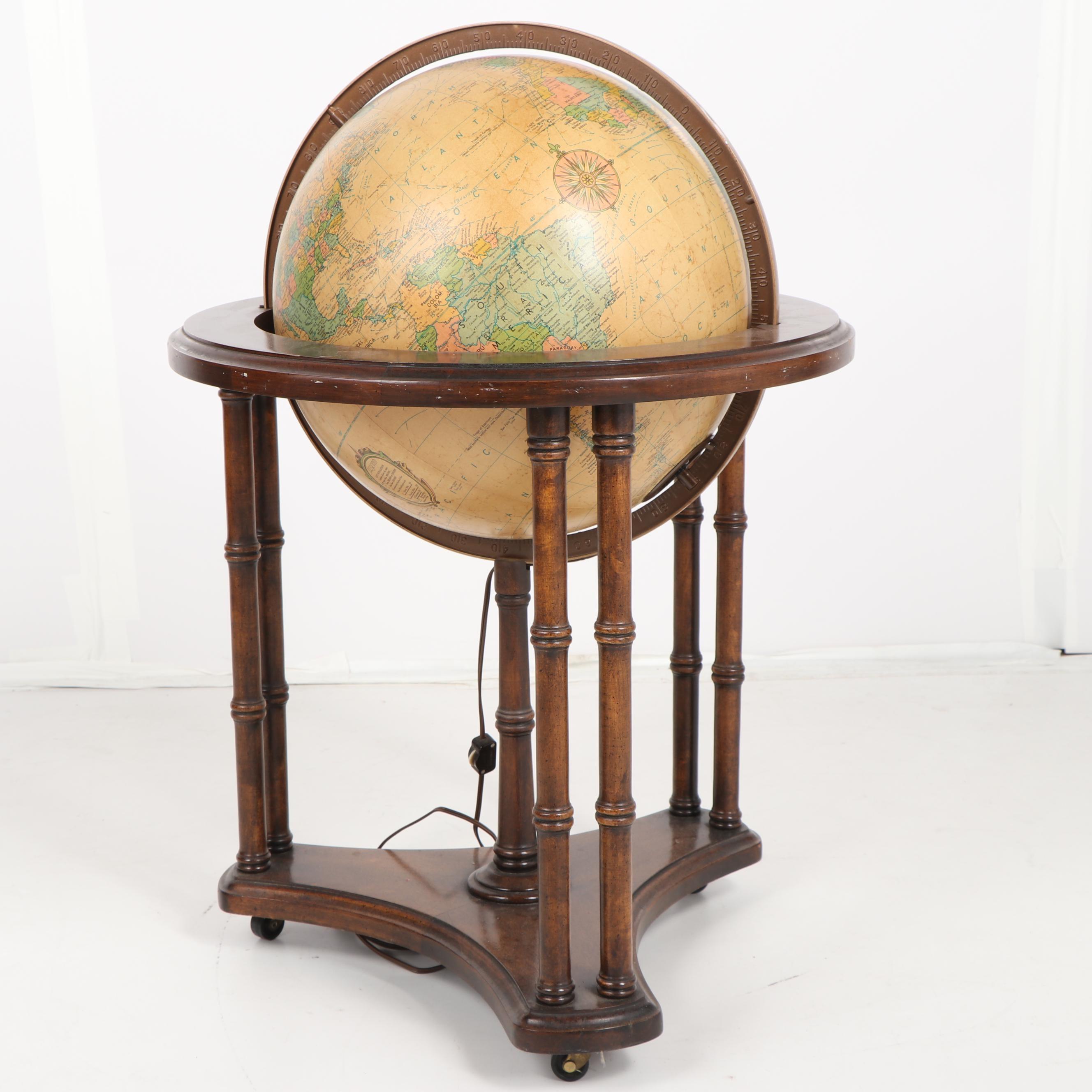 Vintage Replogle Illuminated Globe in Stand