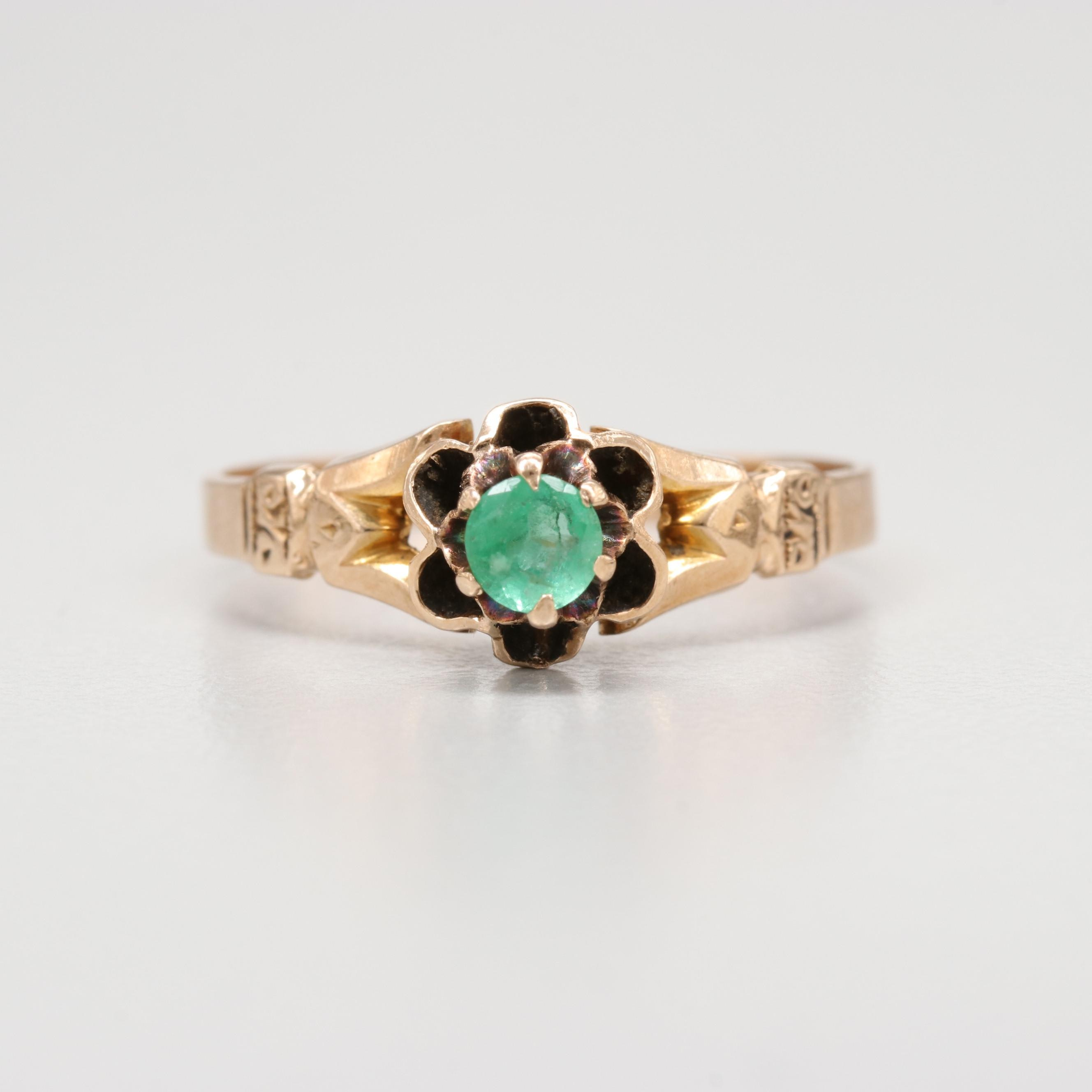 Victorian 10K Yellow Gold Emerald Buttercup Setting Ring
