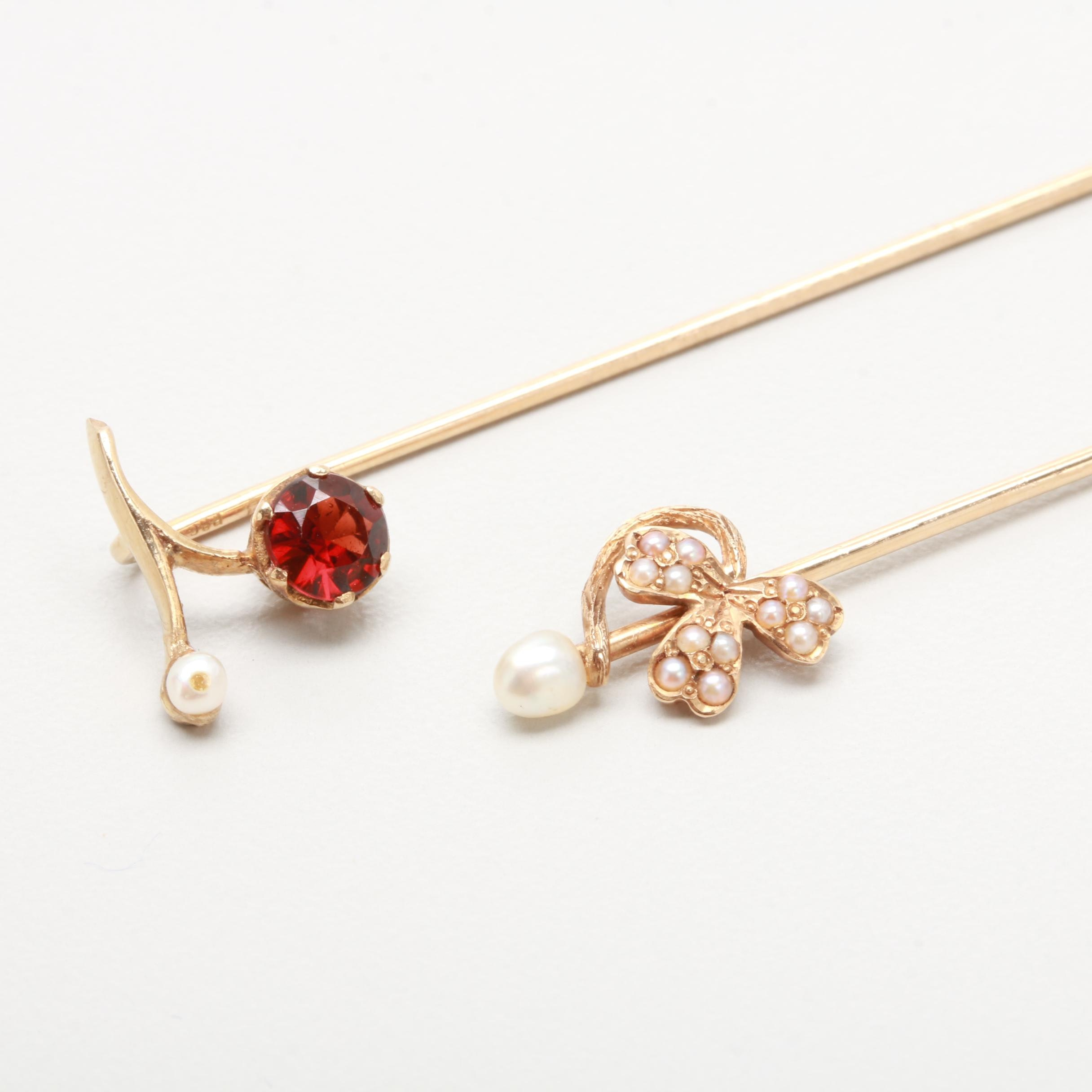 Antique 14K and 10K Yellow Gold Garnet, Cultured Pearl & Seed Pearl Stick Pins