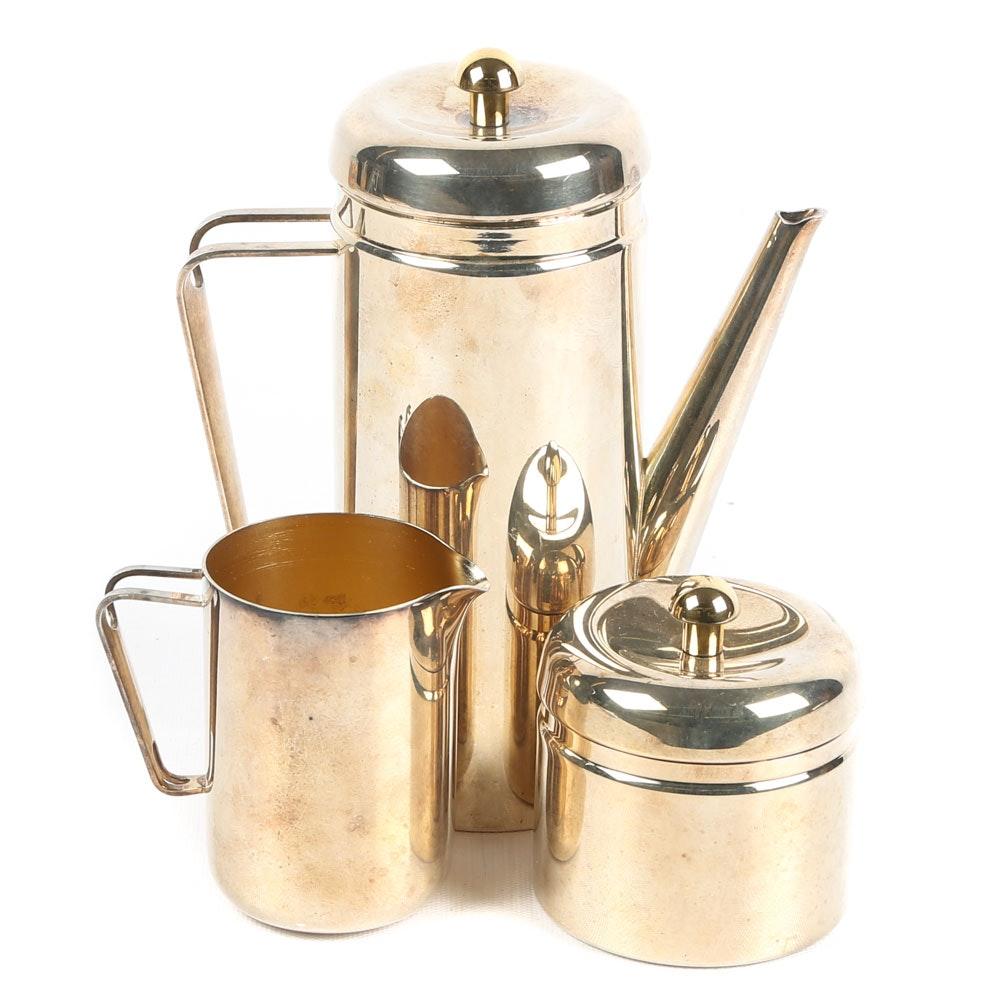 Italian Silver Plated Brass Argente Tea Set
