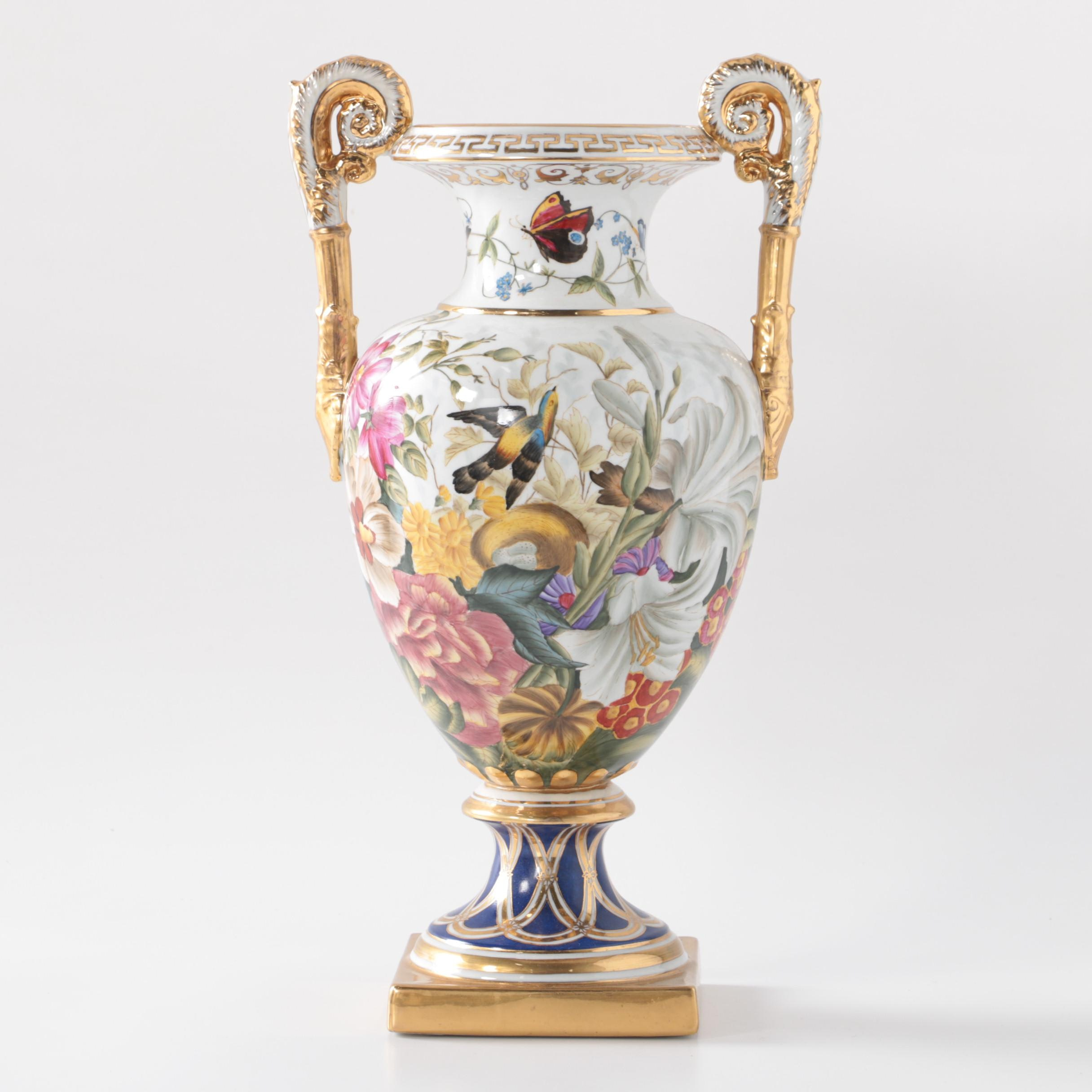 Chelsea House Old Paris Style Floral Decorated Porcelain Urn