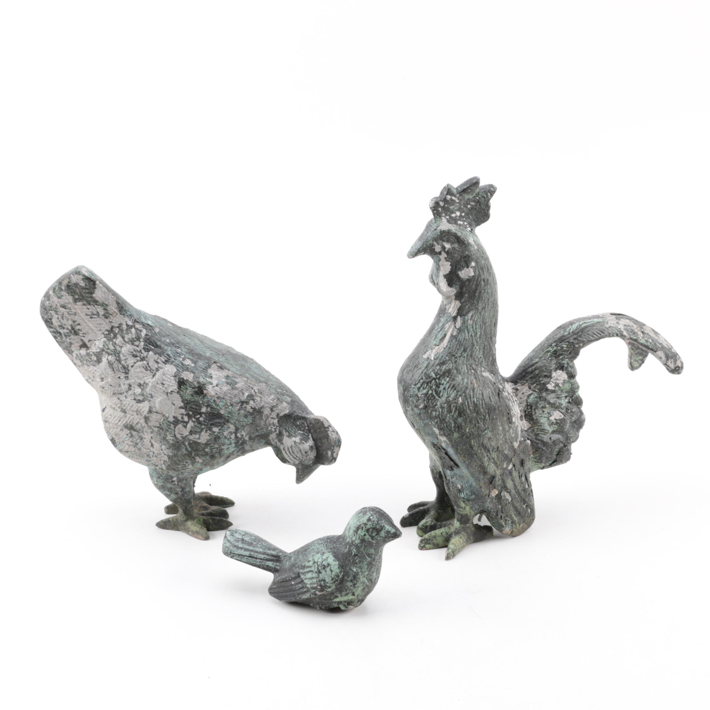 Metal Chicken and Bird Sculptures