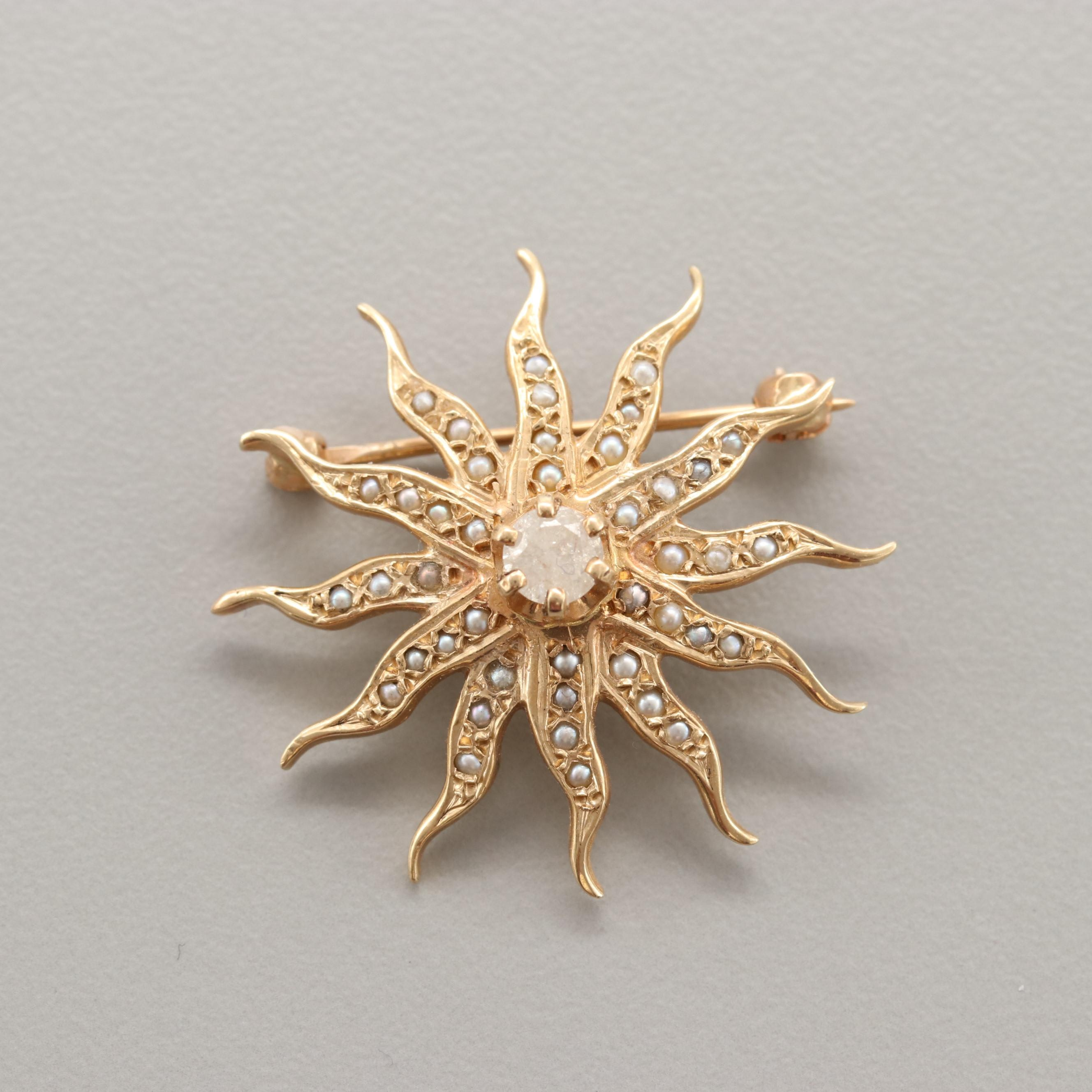 Victorian Revival 14K Yellow Gold Diamond and Cultured Pearl Sunburst Brooch Pin