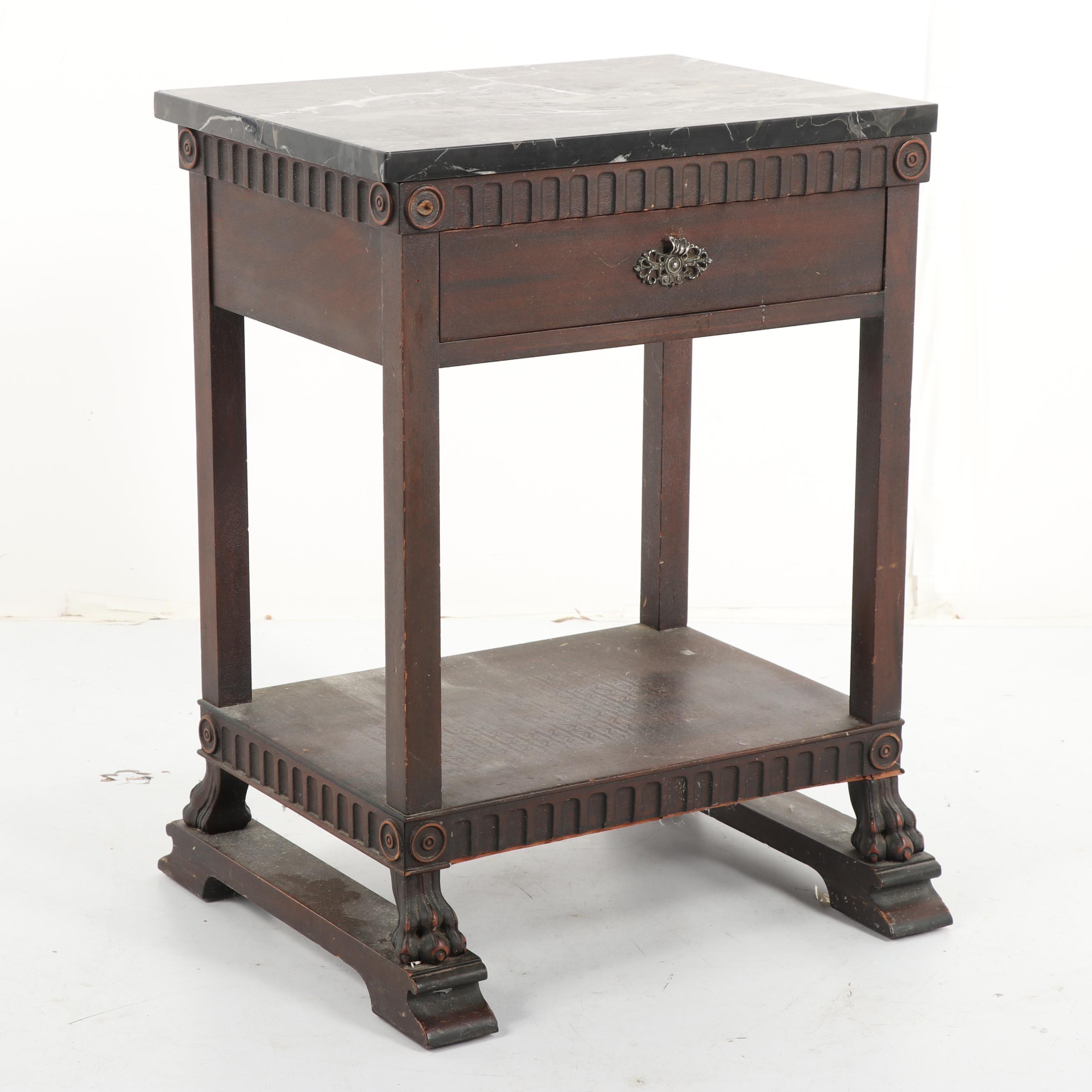 Renaissance Revival Style Mahogany and Stone Side Table, Mid 20th Century