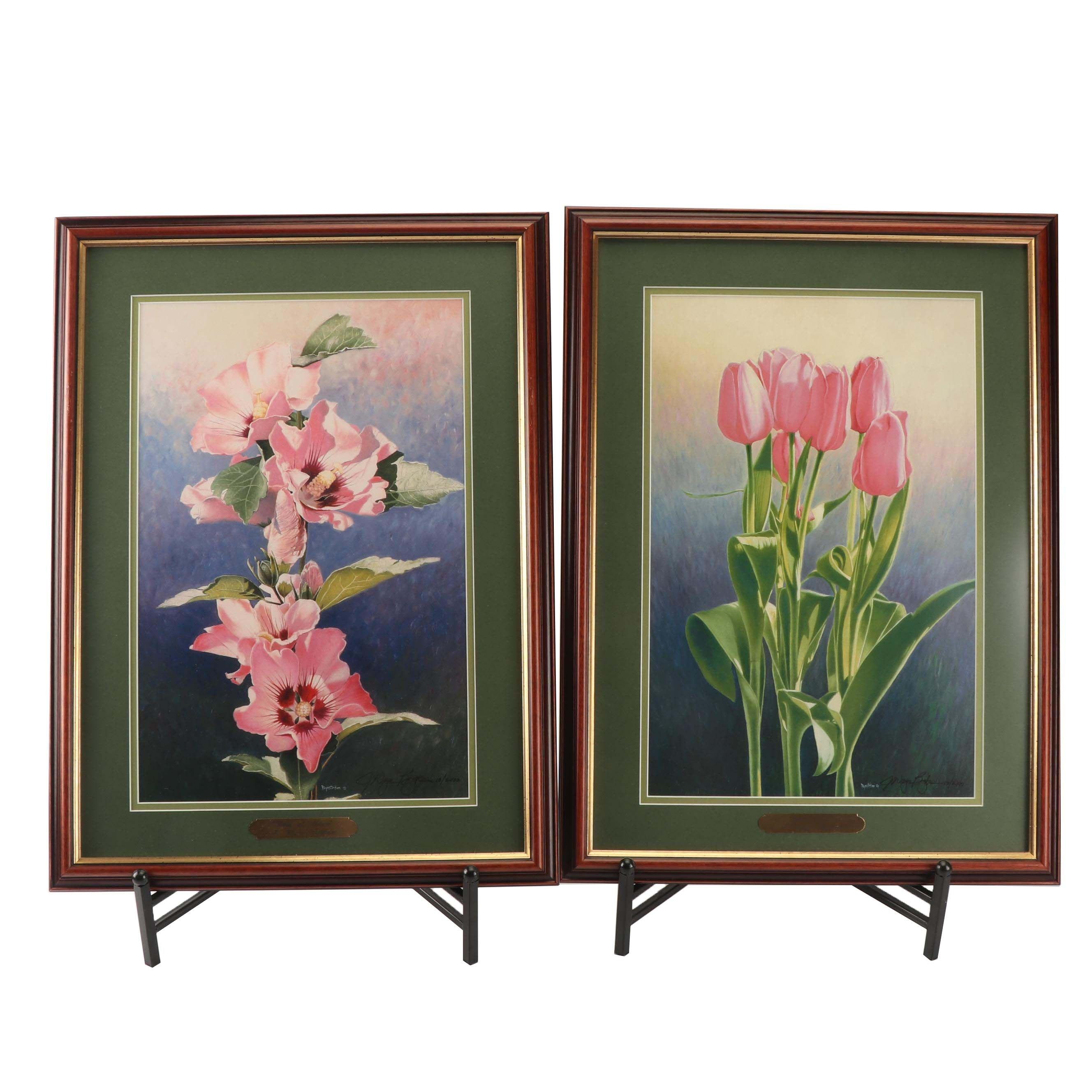 J Wayne Bystrom Flower Offset Lithographs