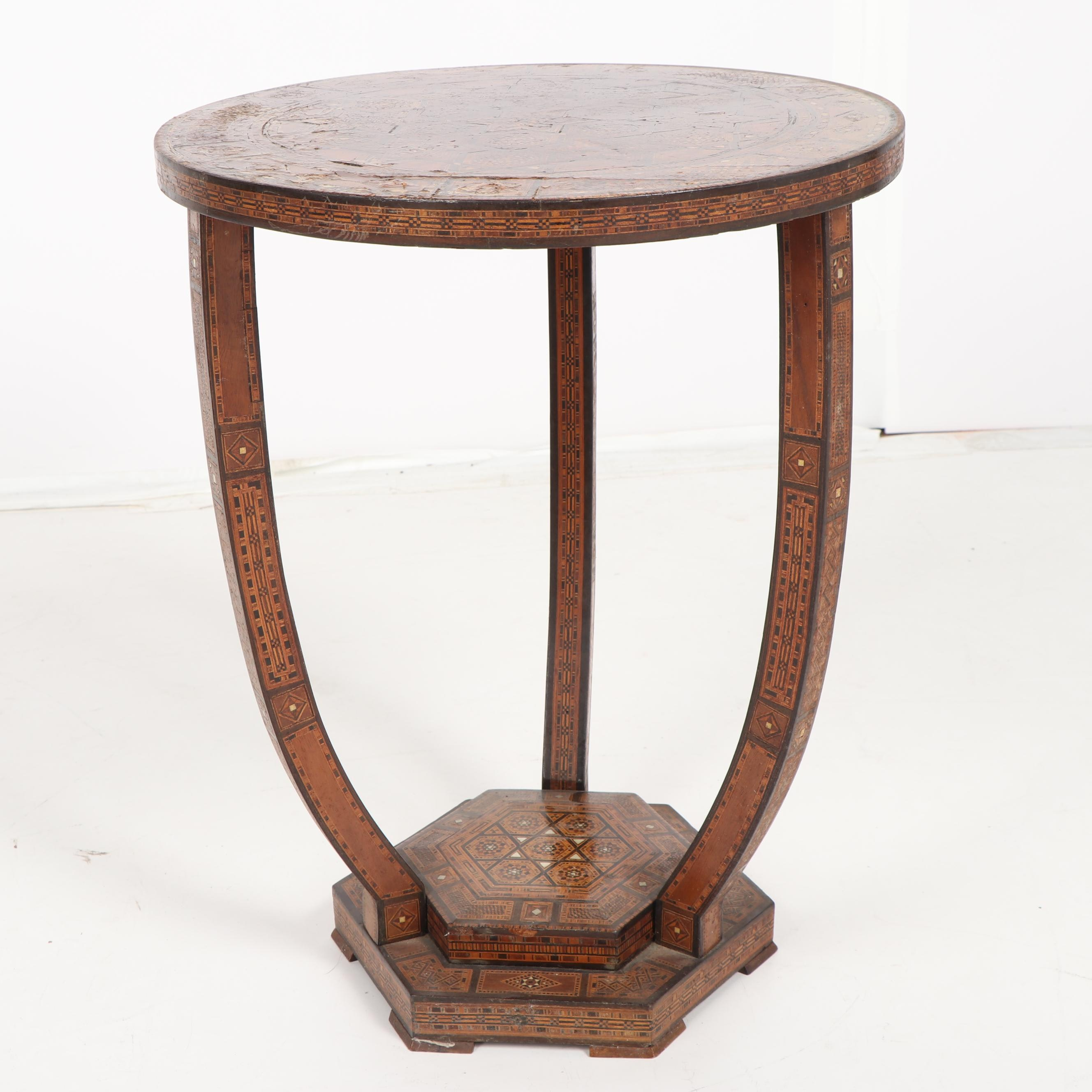 Moroccan Style Wood Occasional Table with Mother of Pearl Inlay, 20th Century