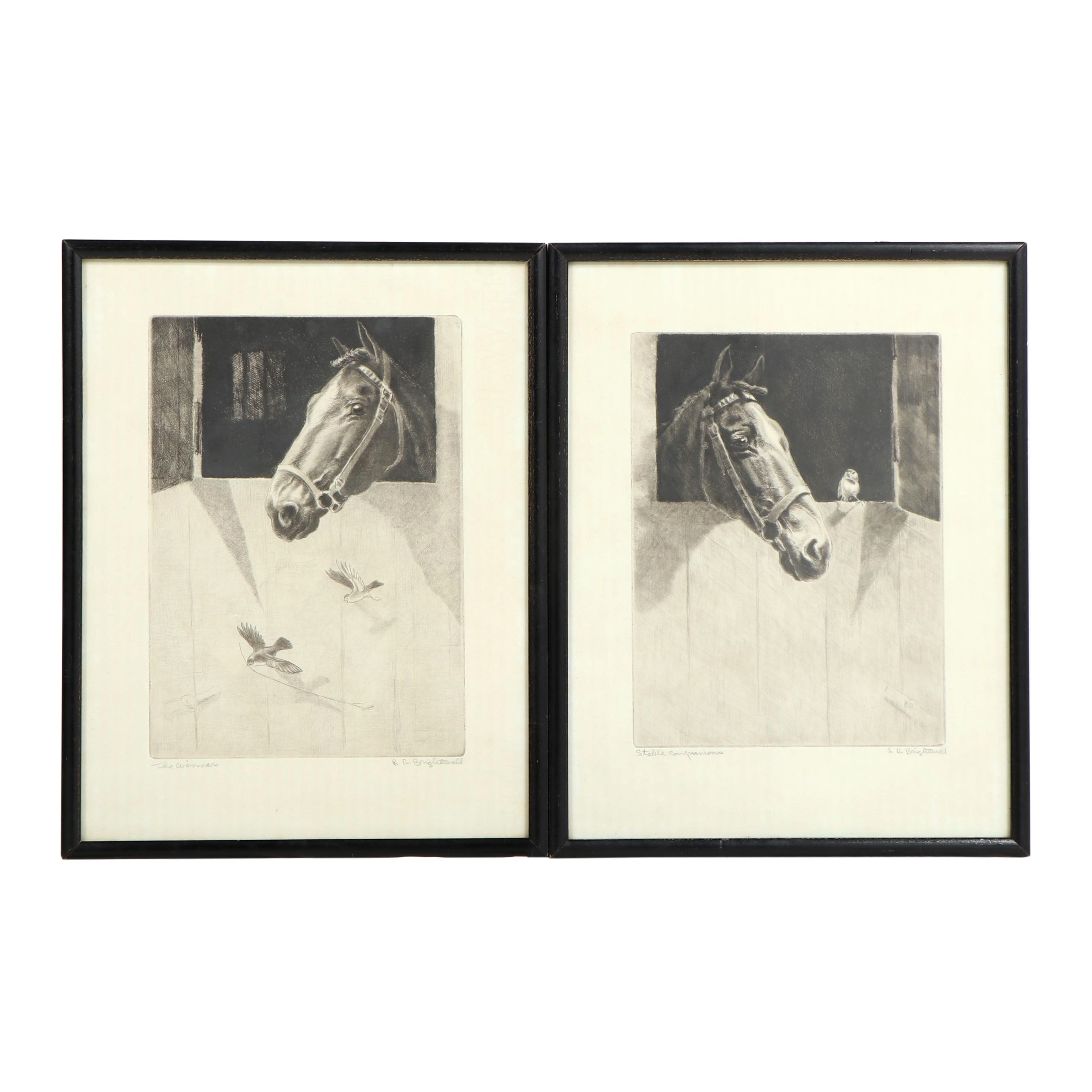 "Leonard Robert Brightwell Drypoint Etchings ""The Winner"" and ""Stable Companions"""