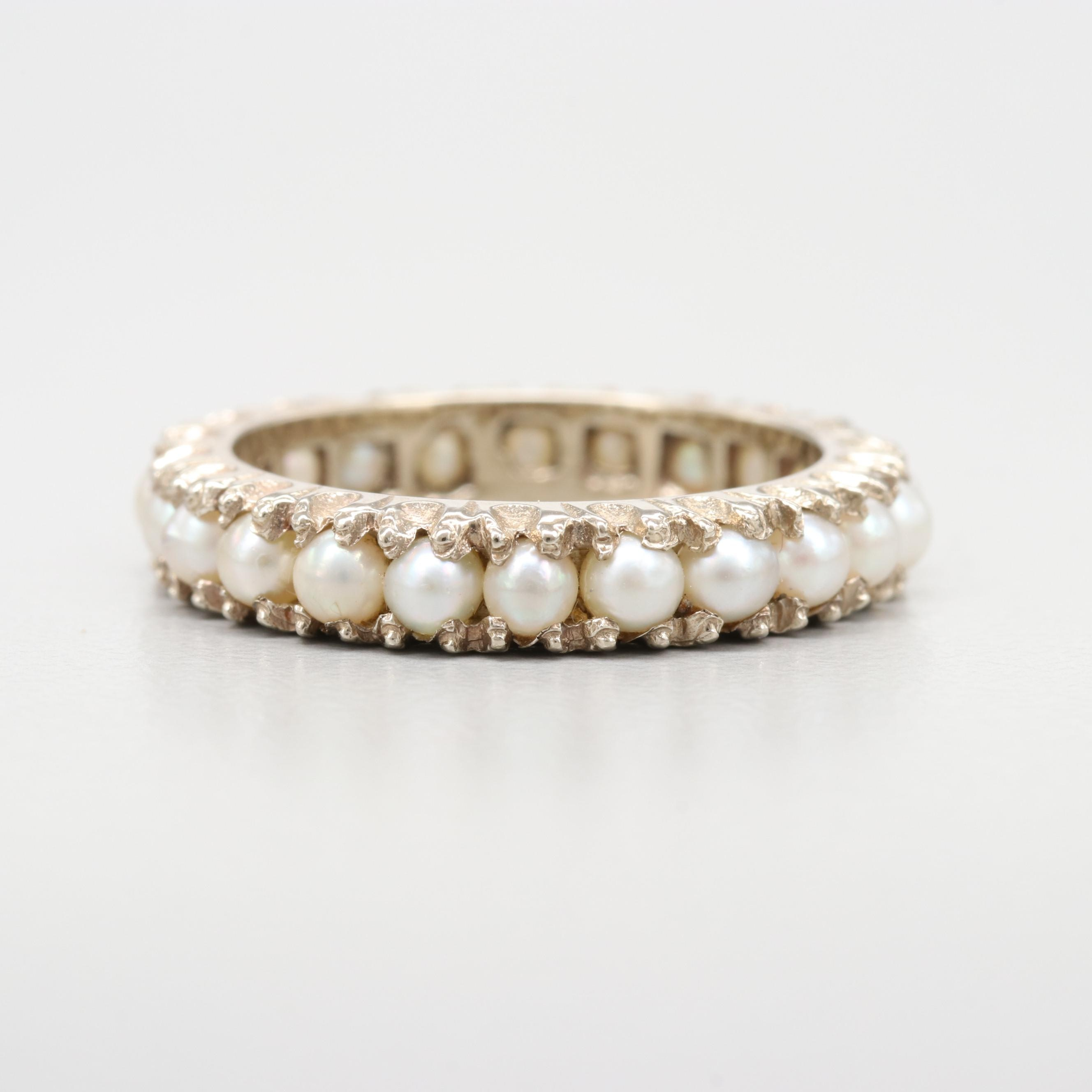 14K Gold Cultured Pearl Eternity Band