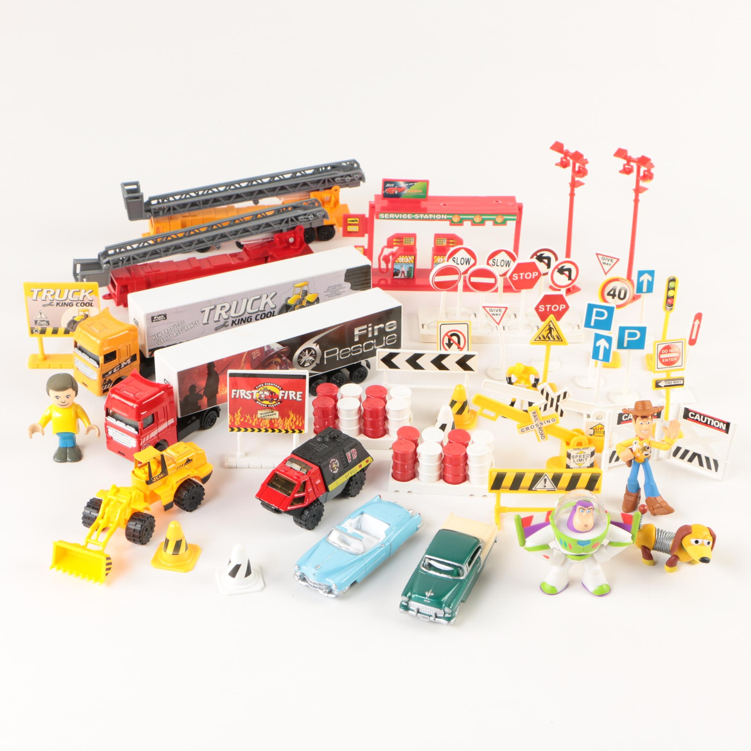 """Toy Trucks and Cars with Accessories including """"Toy Story"""" Figures"""