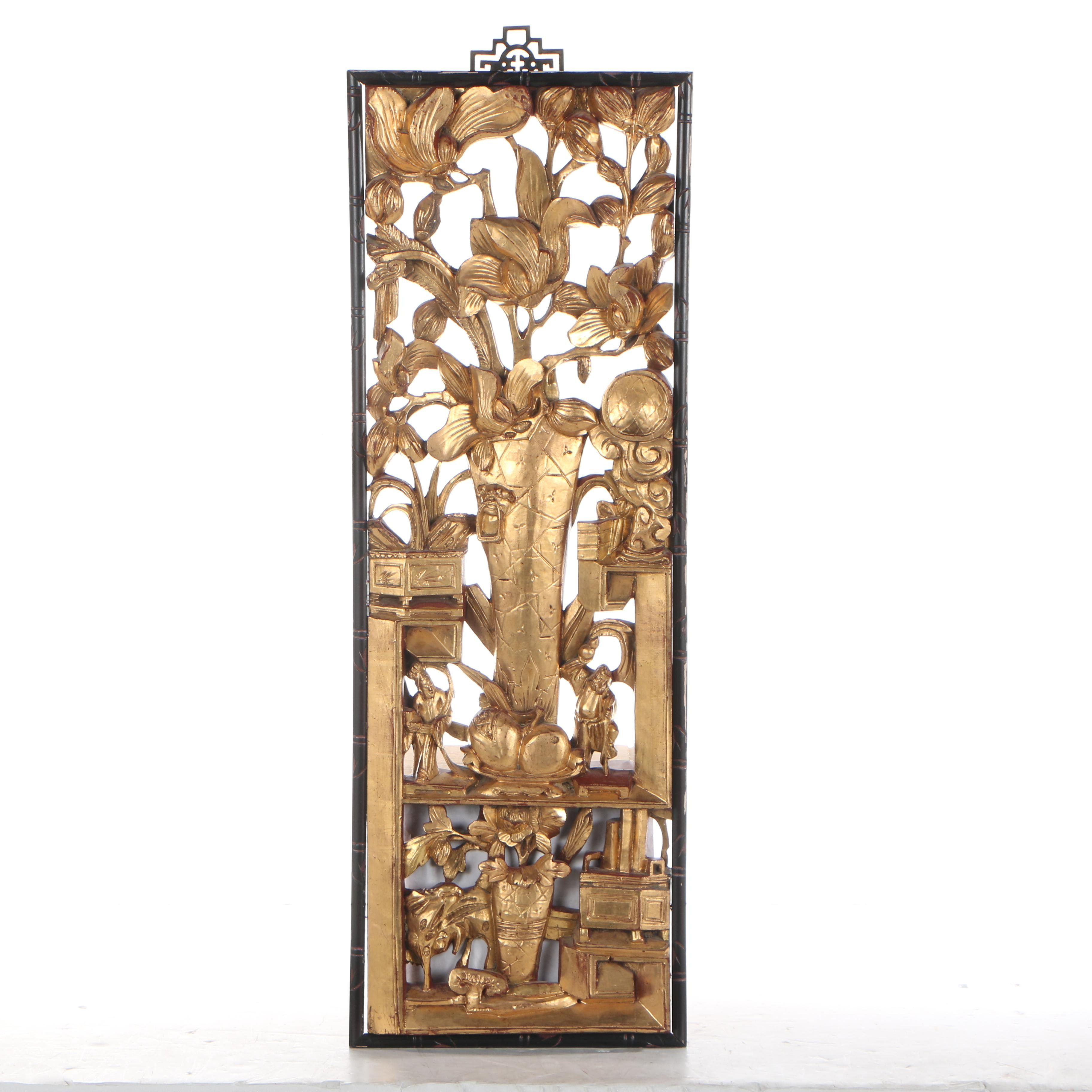 Chinese Carved Wood Decorative Panel