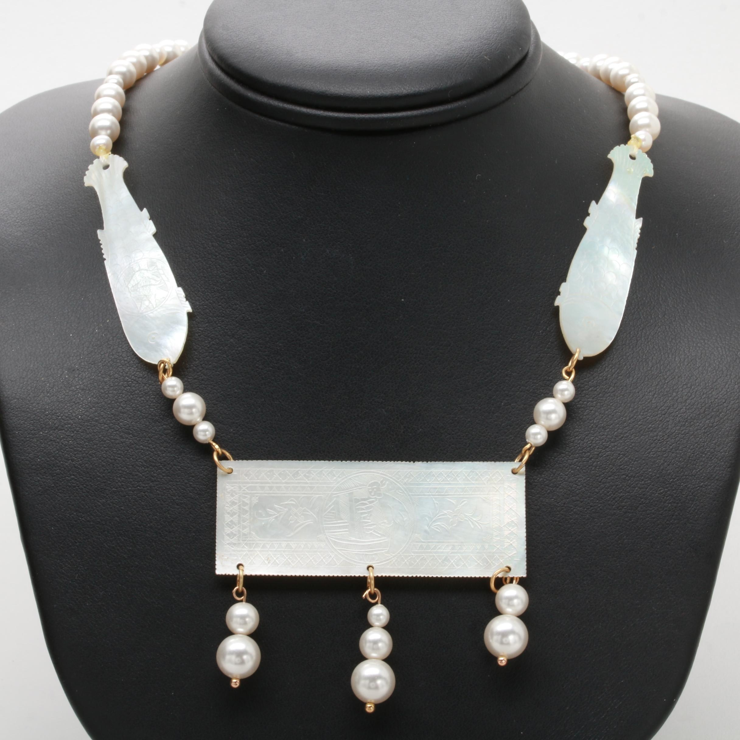 14K Yellow Gold Mother of Pearl and Imitation Pearl Necklace