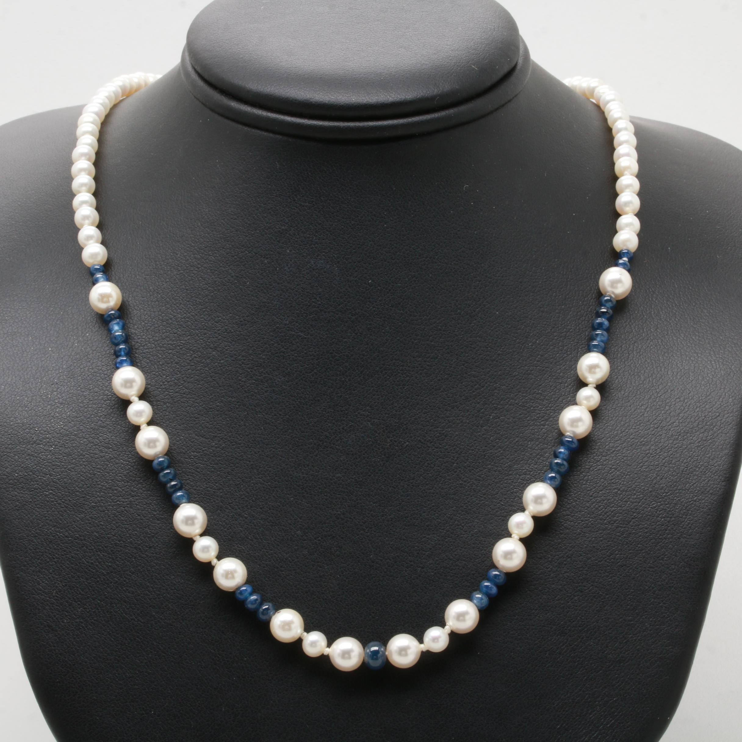 Sterling Silver Imitation and Cultured Pearl Necklace with Sapphire