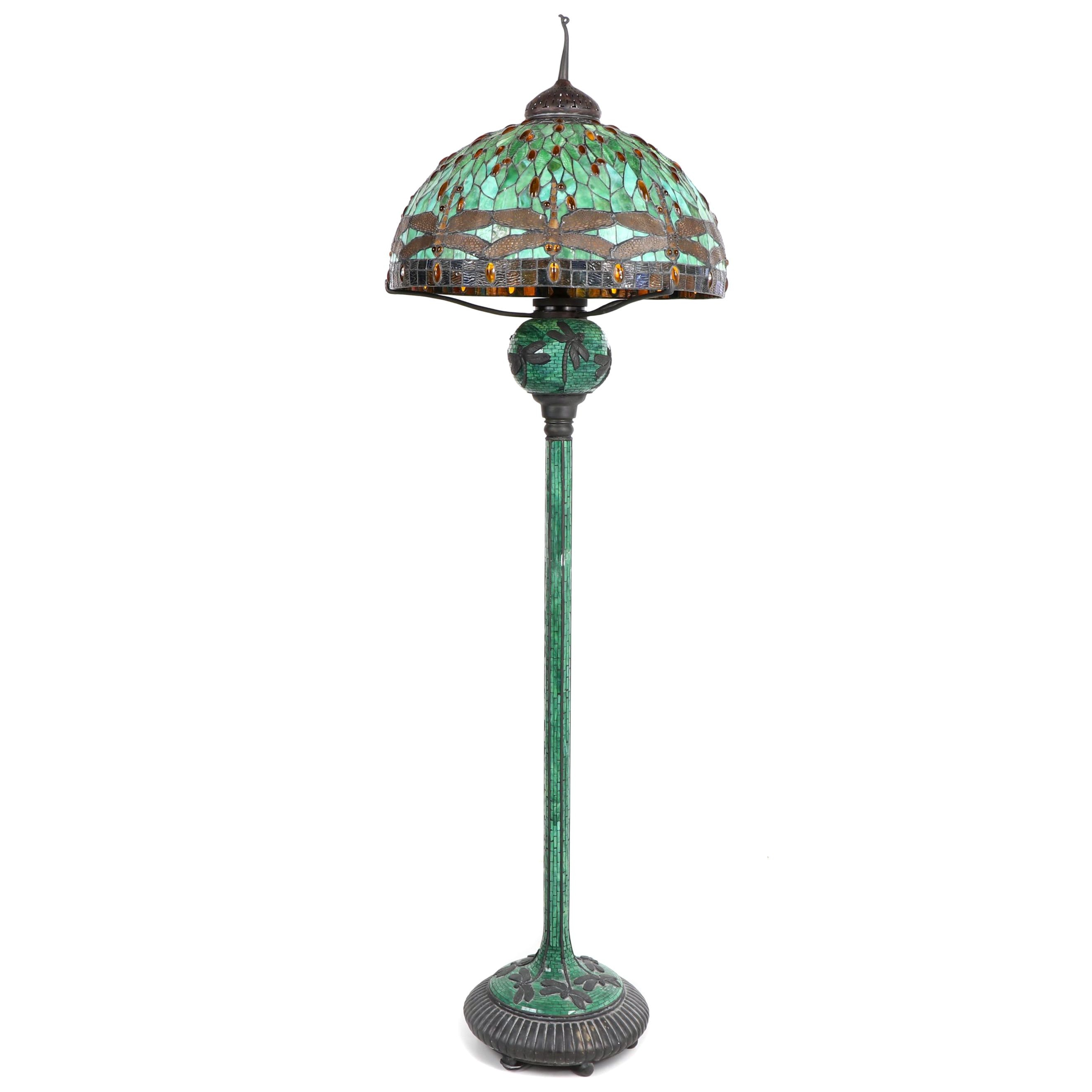 JSW Studios Leaded Glass, Mosaic and Patinated Metal Dragonfly Floor Lamp