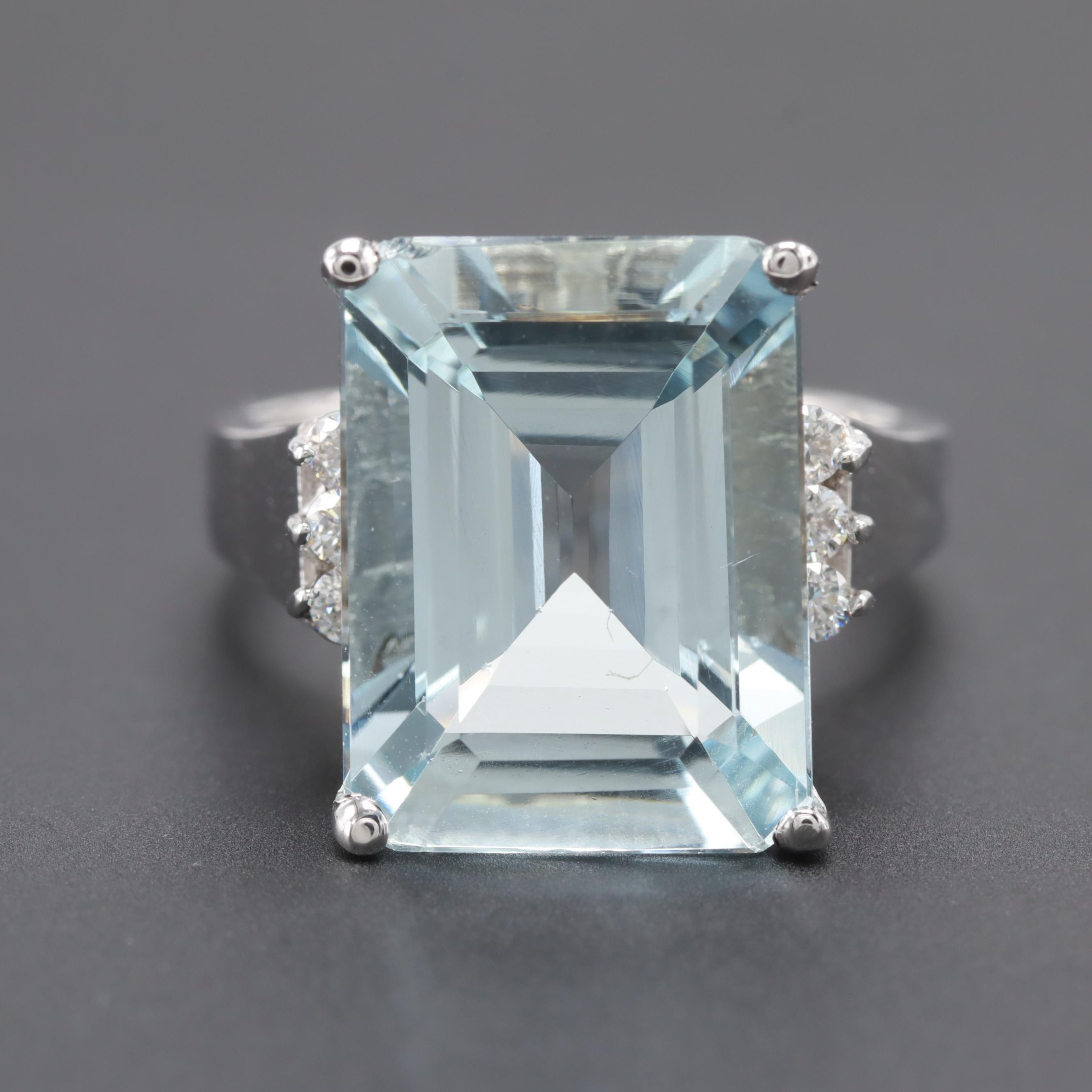 14K White Gold 9.49 CT Aquamarine and Diamond Ring