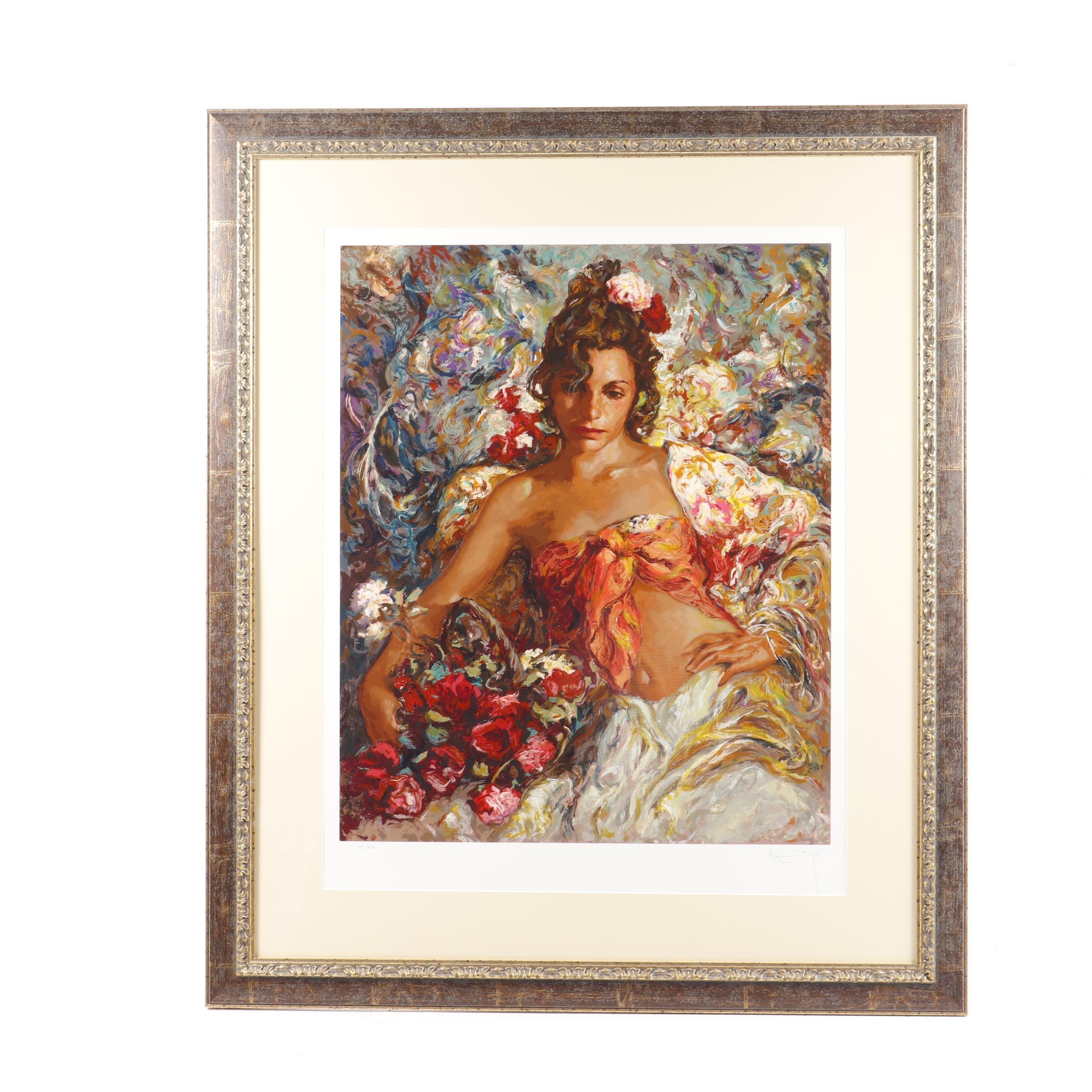 "Jose Royo Embellished Serigraph ""Entre Flores 1997"""